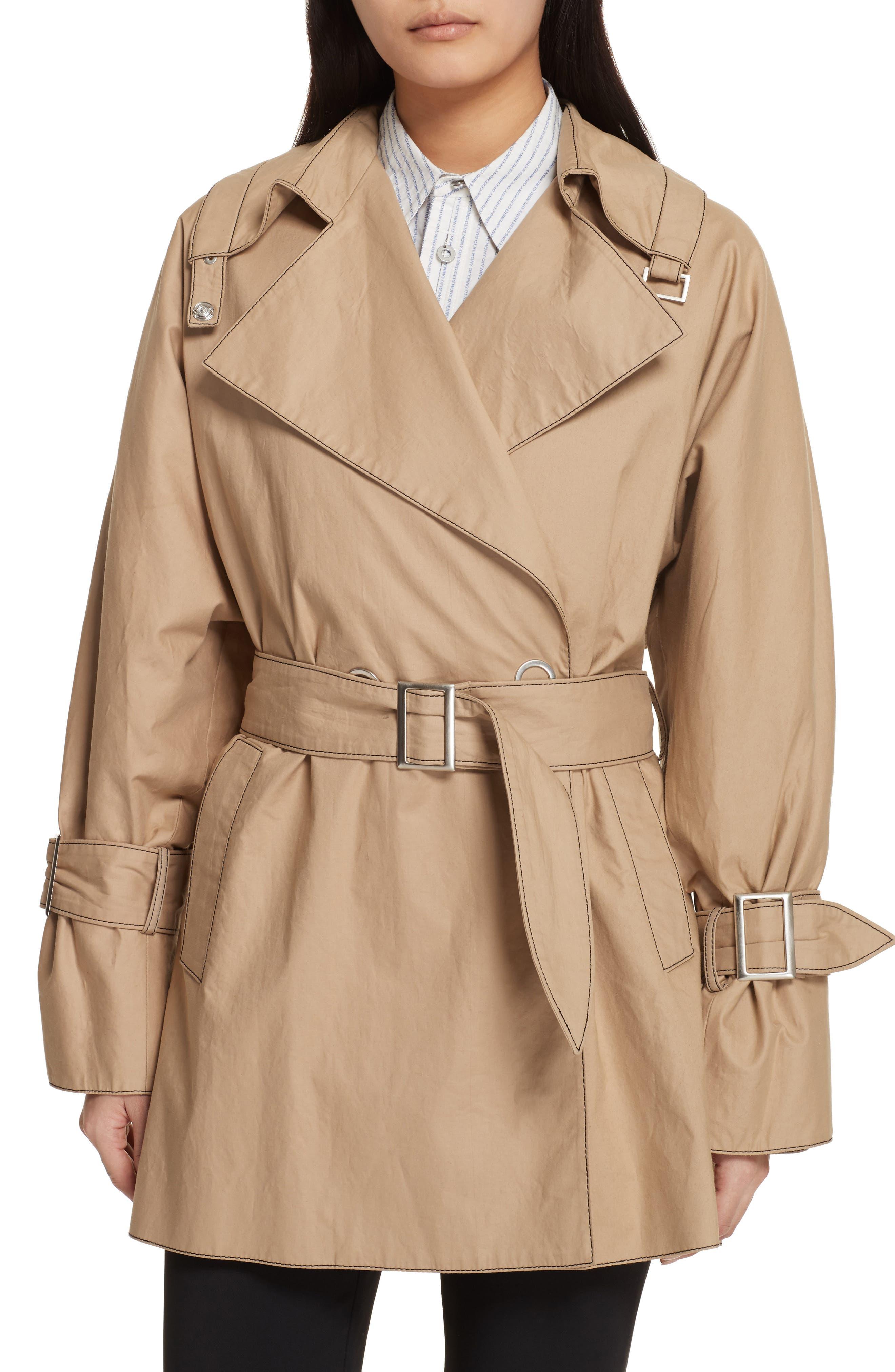 Bonded Poplin Trench Coat,                             Alternate thumbnail 5, color,                             Khaki