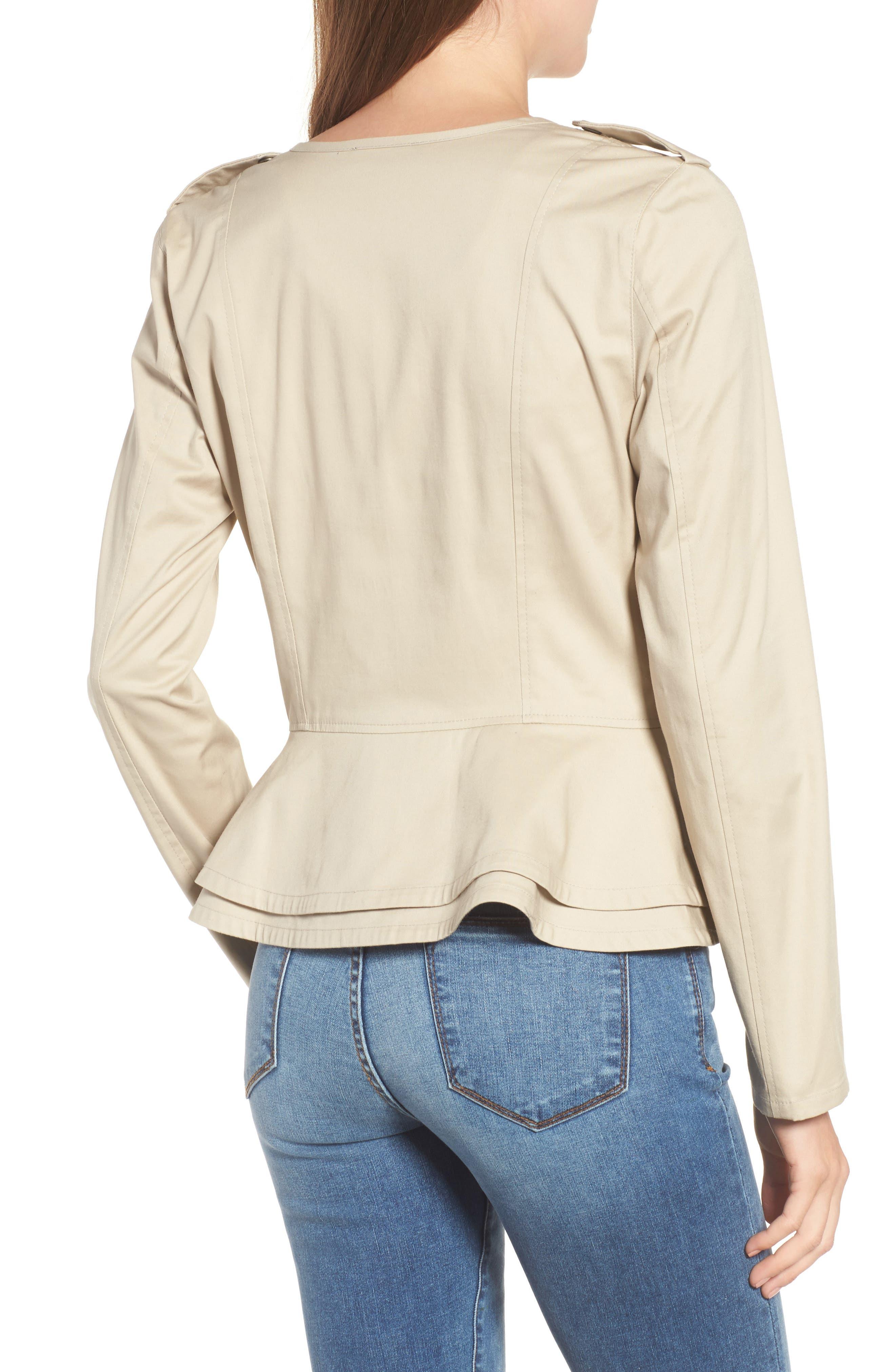 Asymmetrical Zip Peplum Jacket,                             Alternate thumbnail 2, color,                             Tan Oxford