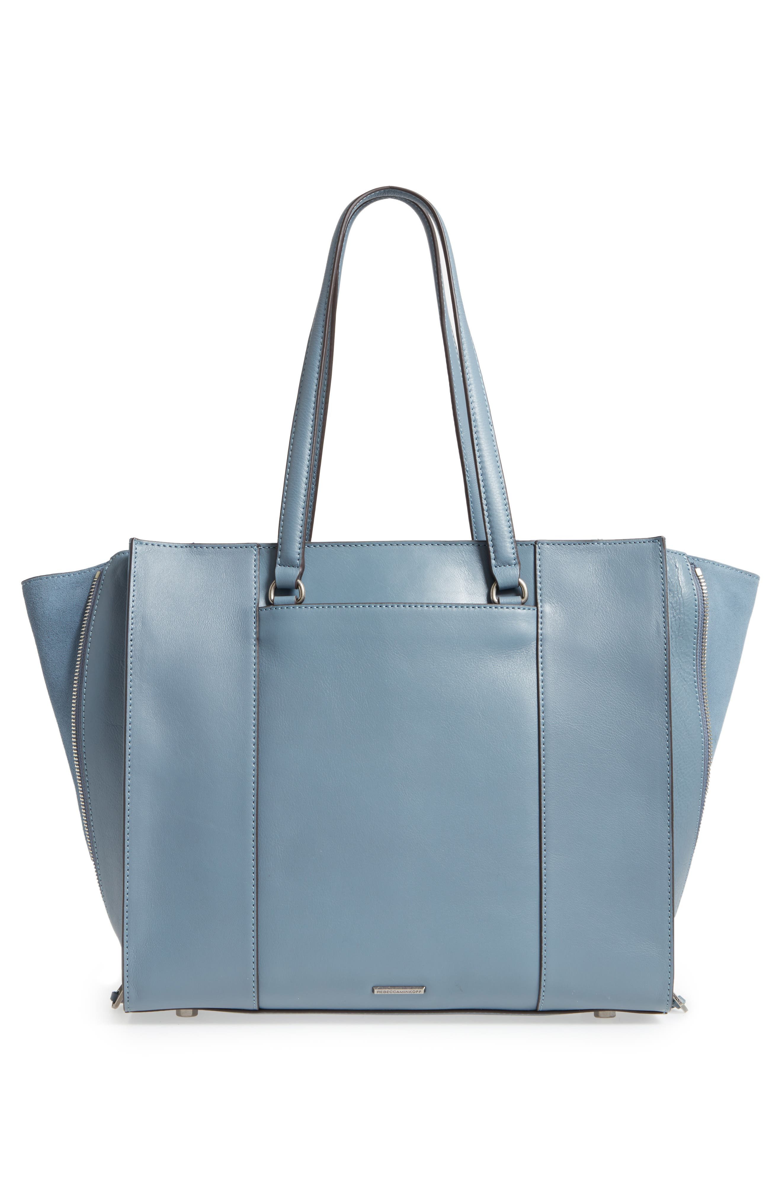 Always On Regan Leather Tote,                             Alternate thumbnail 3, color,                             Dusty Blue