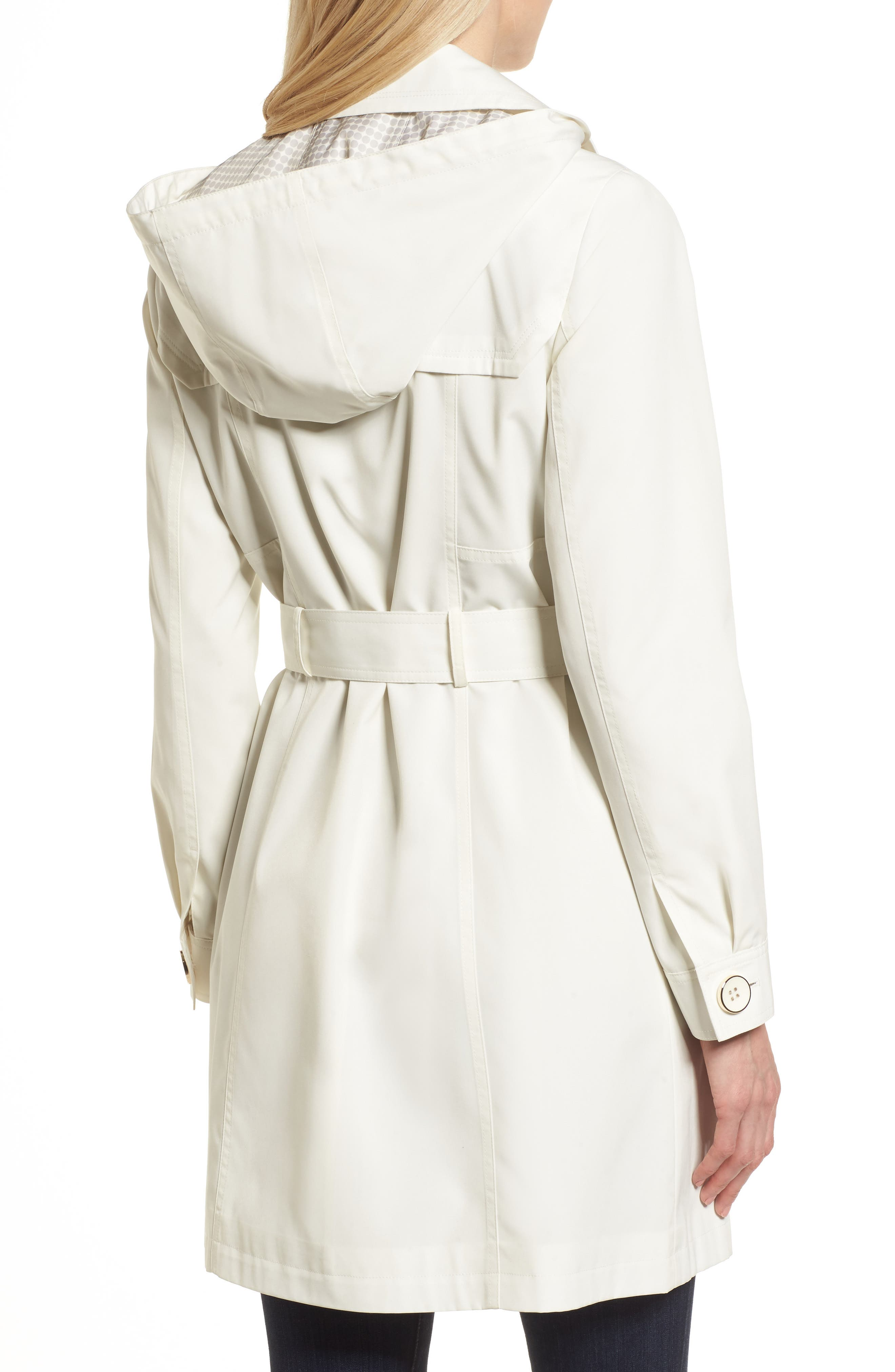 Belted Trench Raincoat,                             Alternate thumbnail 2, color,                             Vanilla