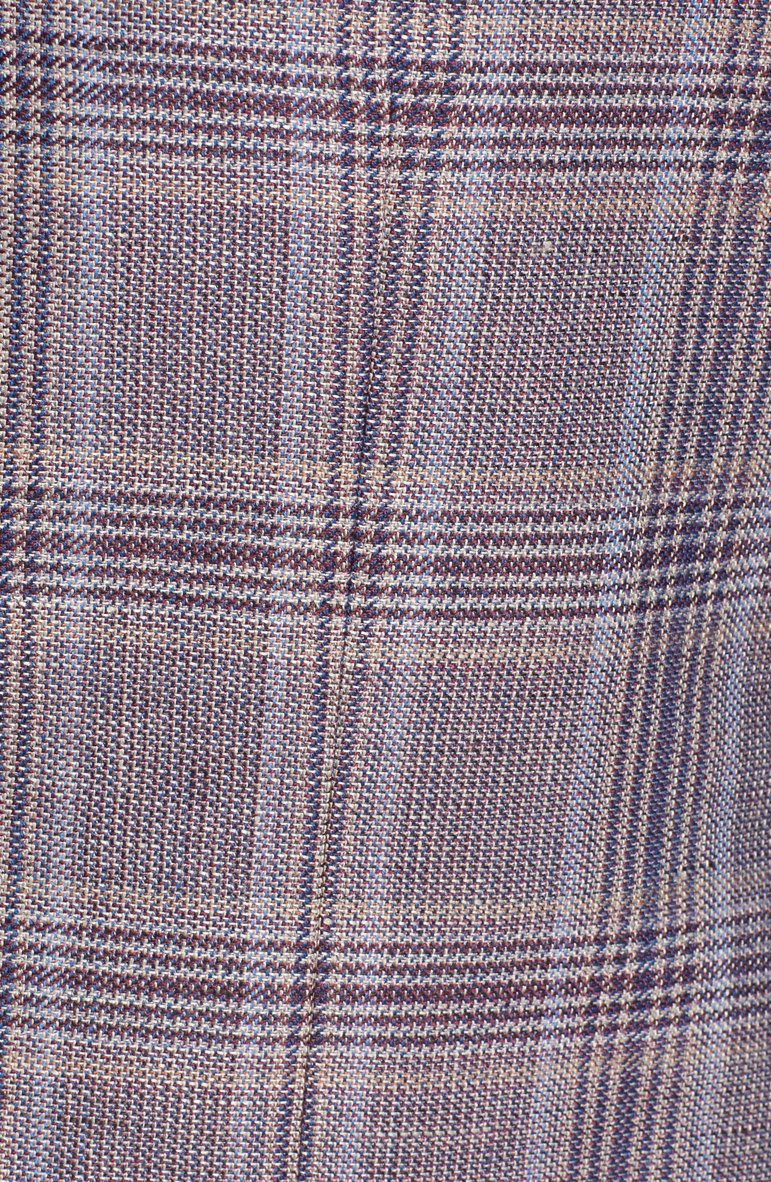 Konan Trim Fit Plaid Linen & Wool Sport Coat,                             Alternate thumbnail 6, color,                             Tan