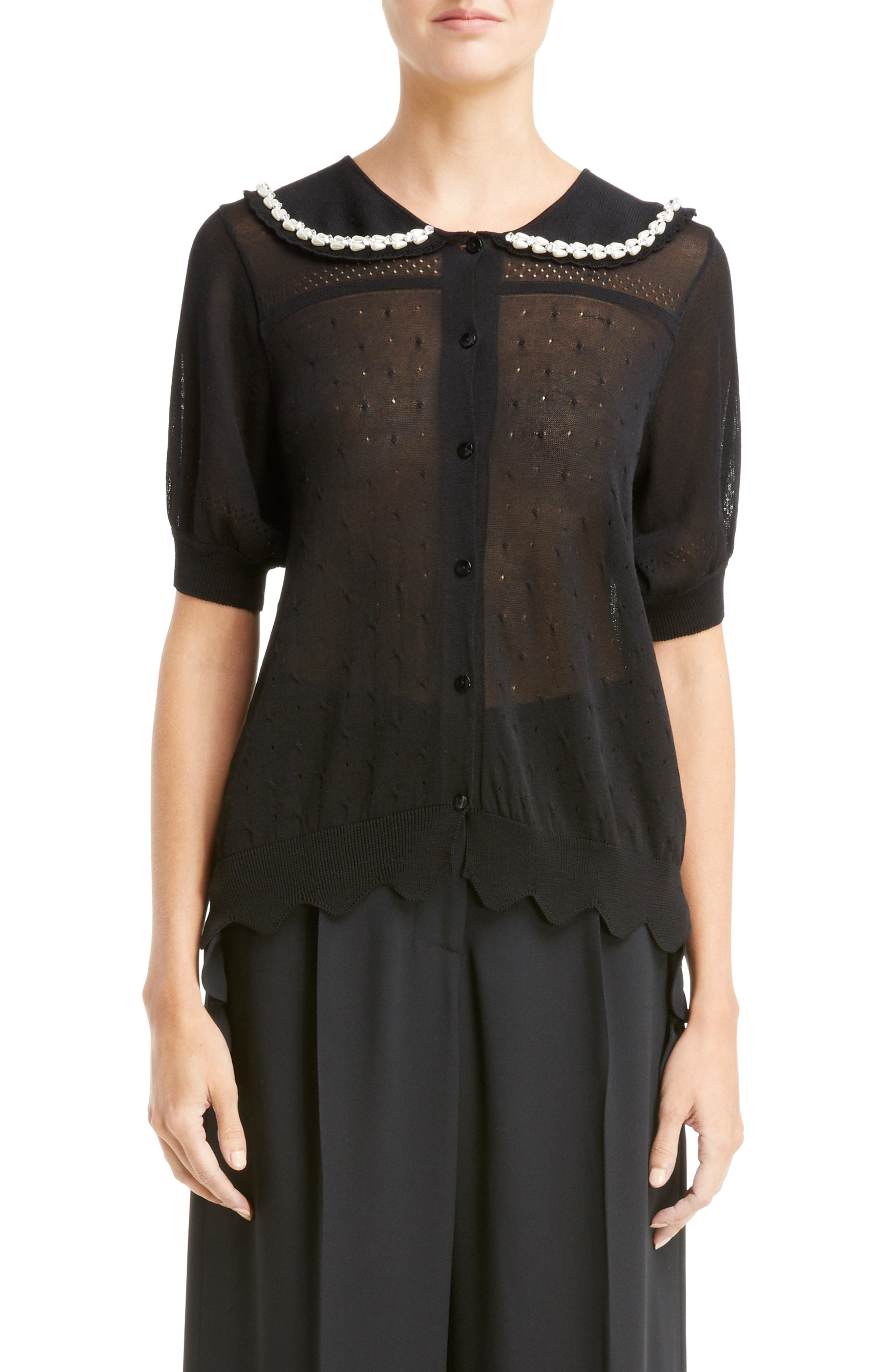 Beaded Lace Knit Cardigan,                         Main,                         color, Black
