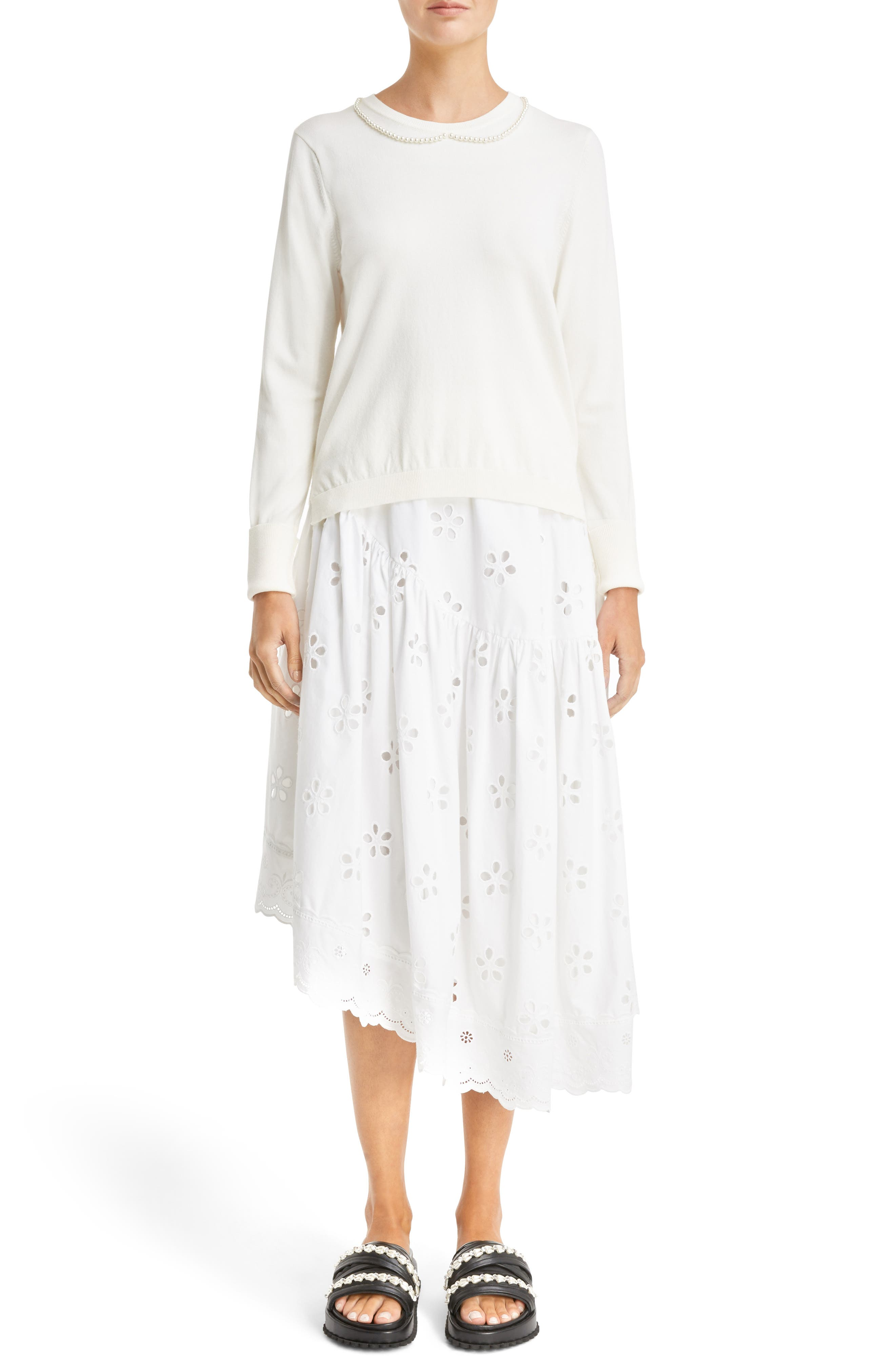 Imitation Pearl Embellished Sweater,                             Alternate thumbnail 4, color,                             Ivory Pearl