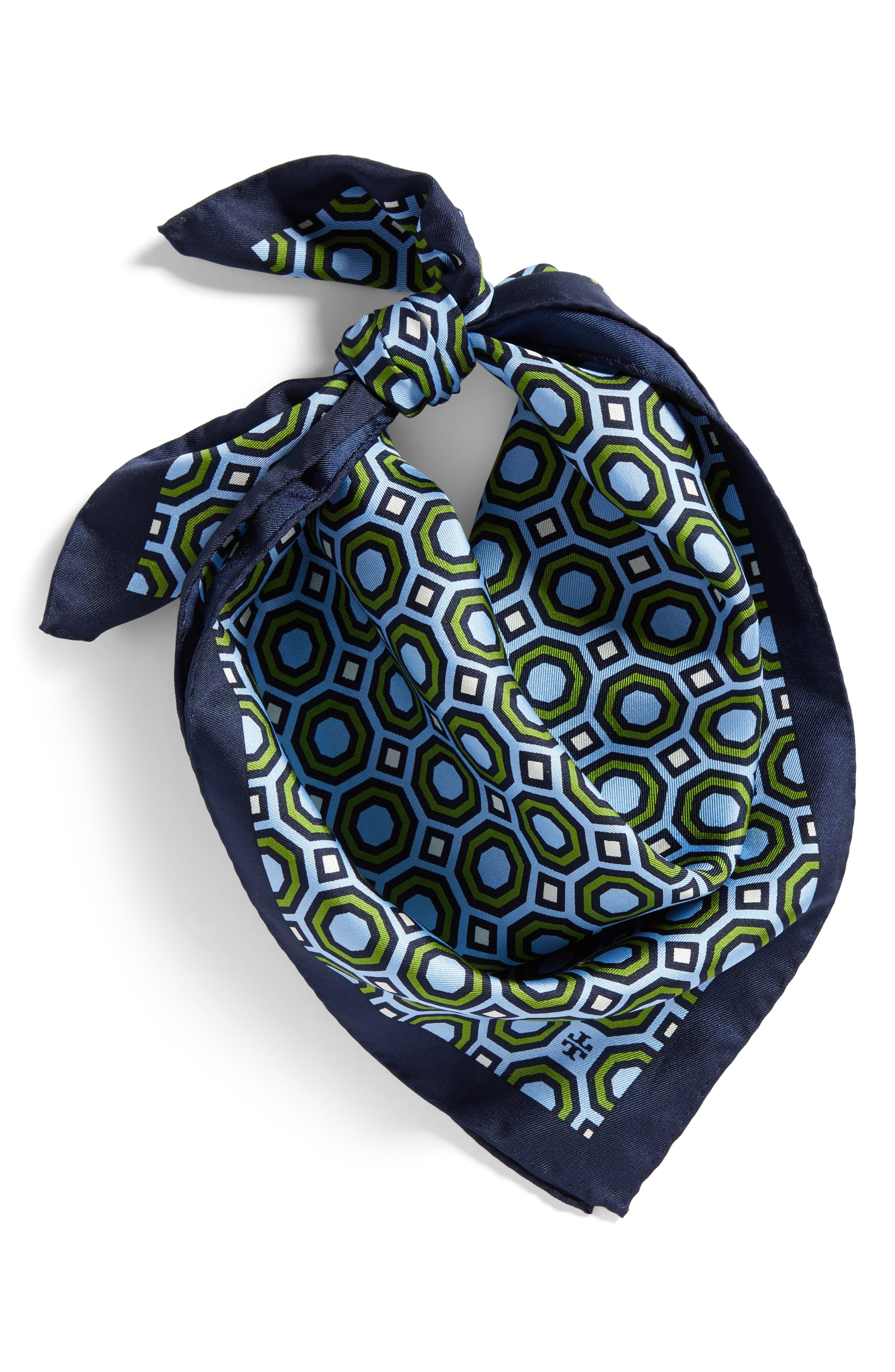 Octagon Print Silk Neckerchief,                             Alternate thumbnail 2, color,                             Blue