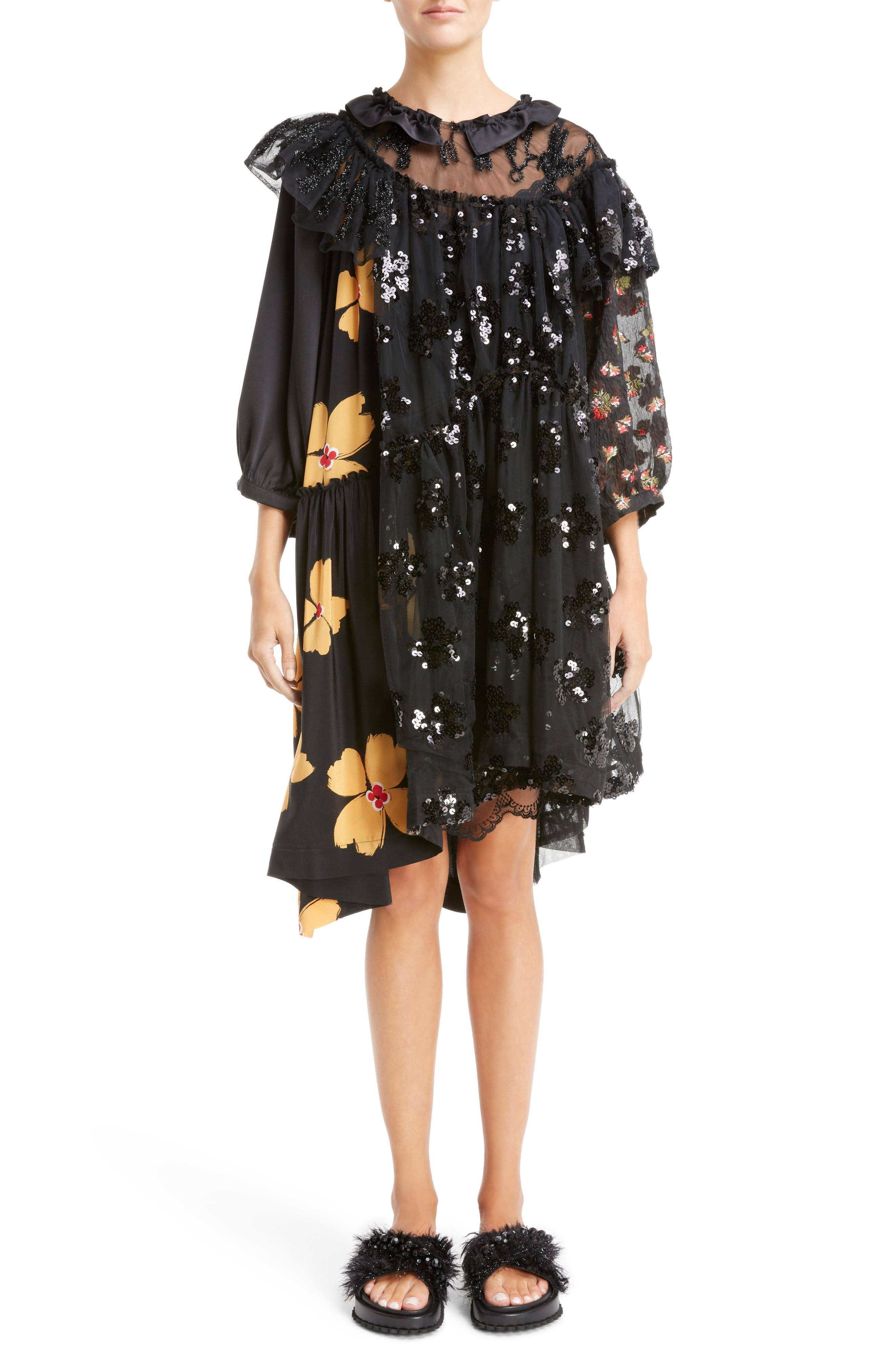 Frill Patchwork Dress,                         Main,                         color, Black Multi