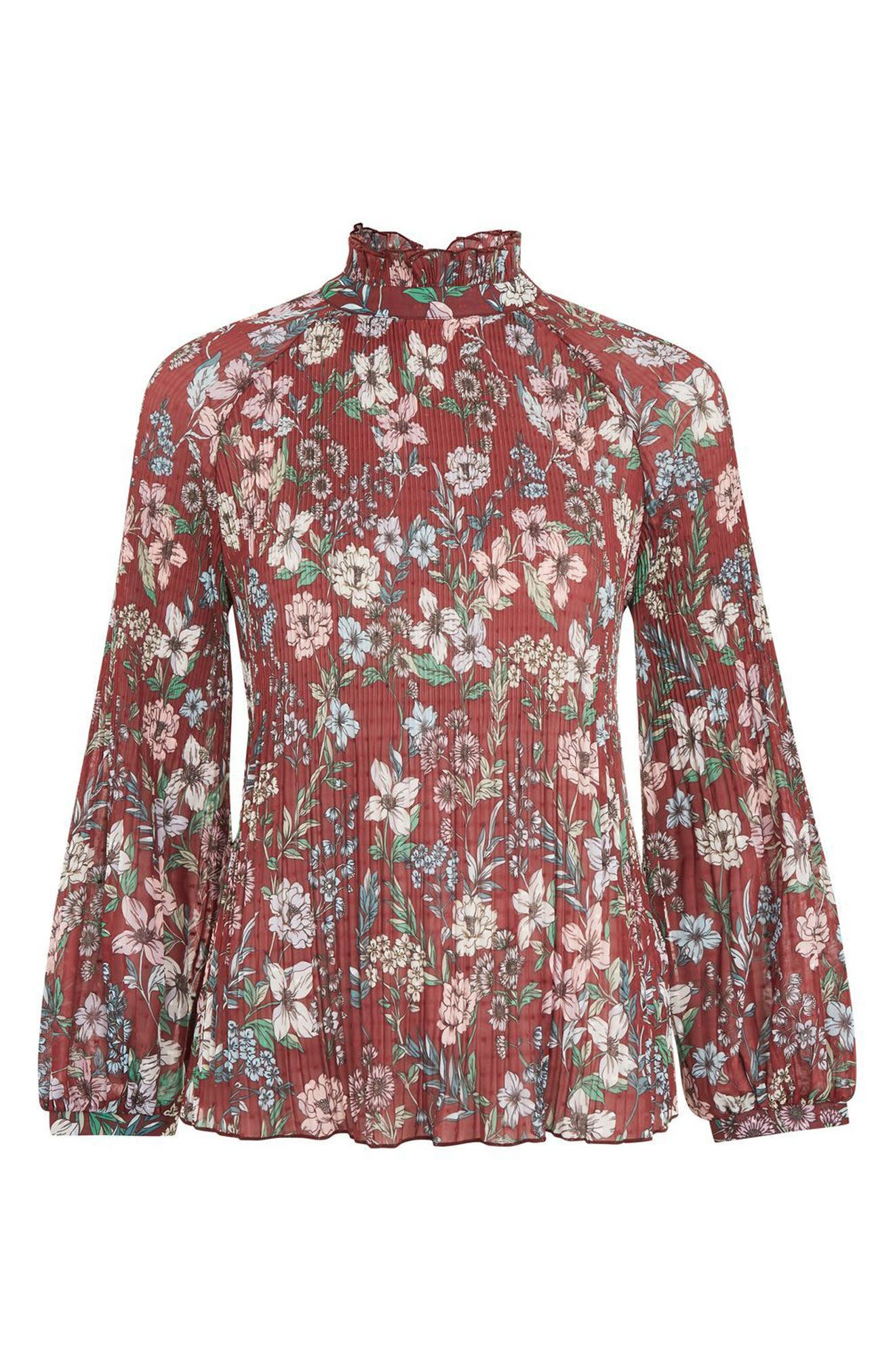Floral Pleat Tunic Blouse,                             Alternate thumbnail 4, color,                             Burgundy Multi
