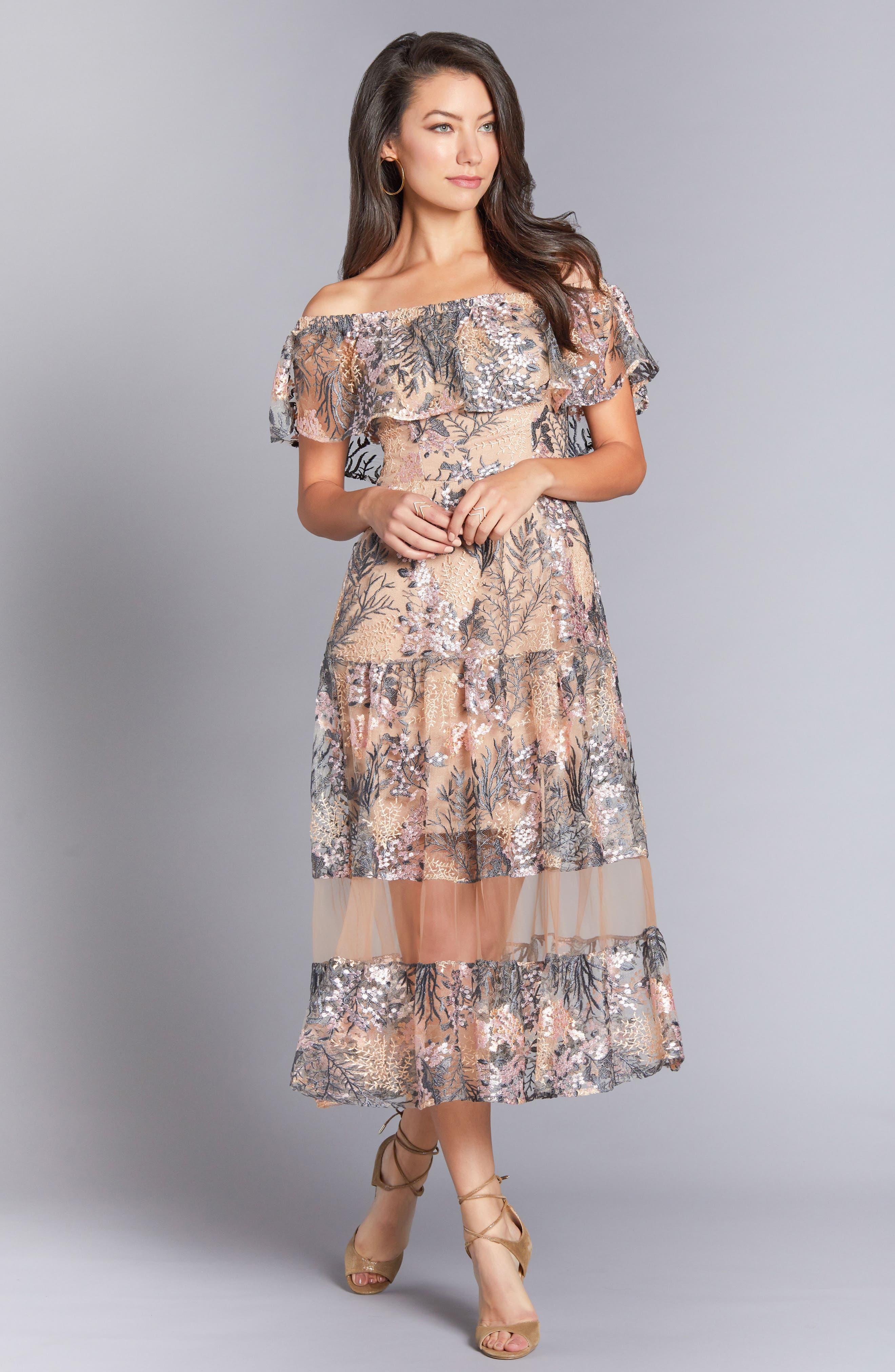 Gabriella Off the Shoulder Dress,                             Alternate thumbnail 2, color,                             Pink Blossom