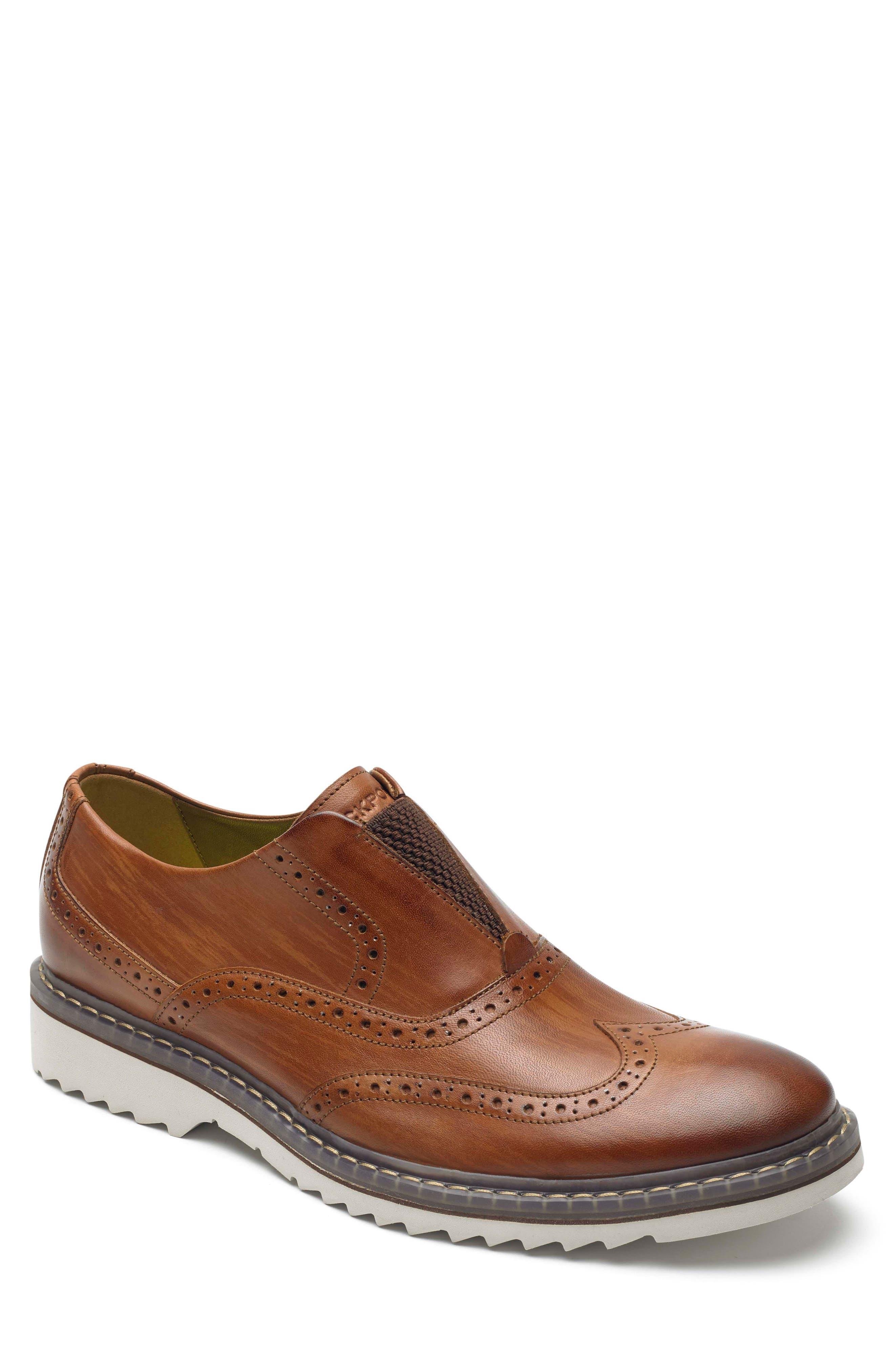 Jaxson Wingtip Slip-On,                         Main,                         color, Tan Leather