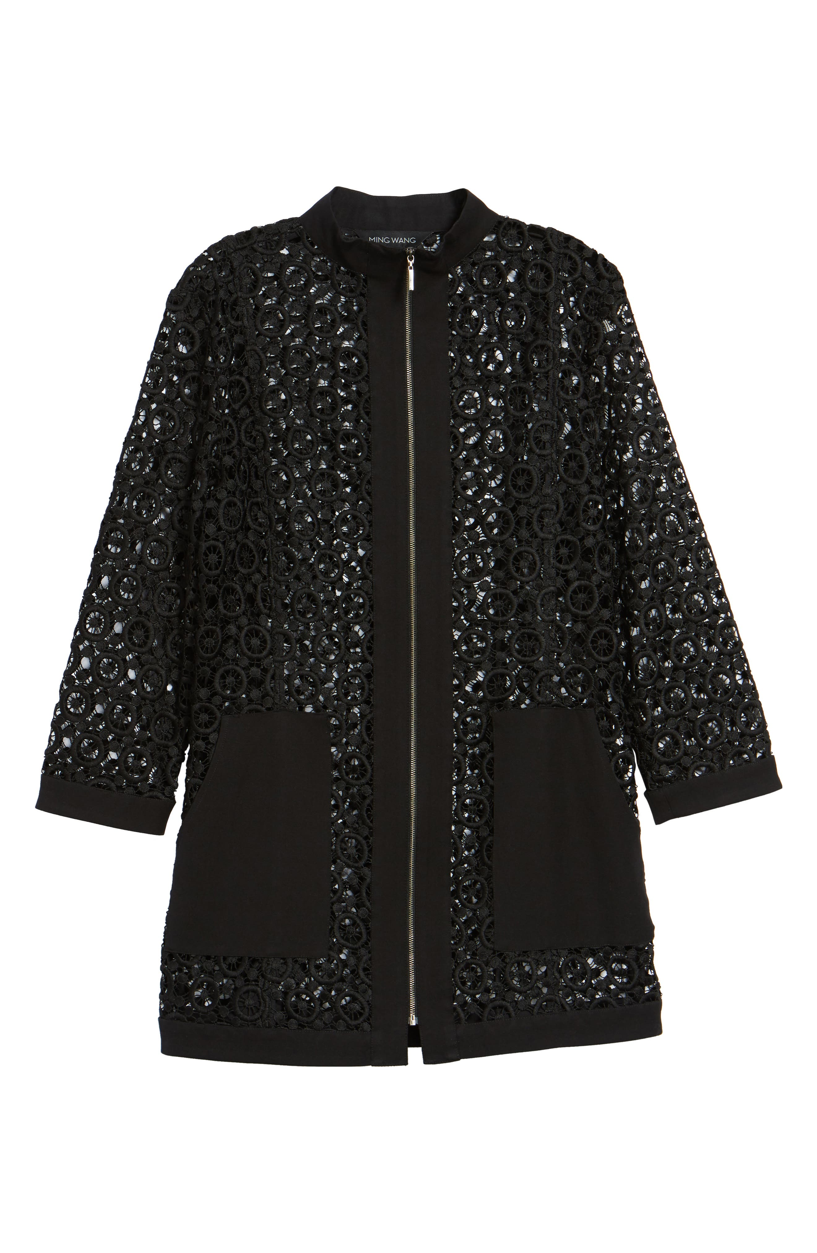 Pointelle Zip Front Jacket,                             Alternate thumbnail 6, color,                             Black