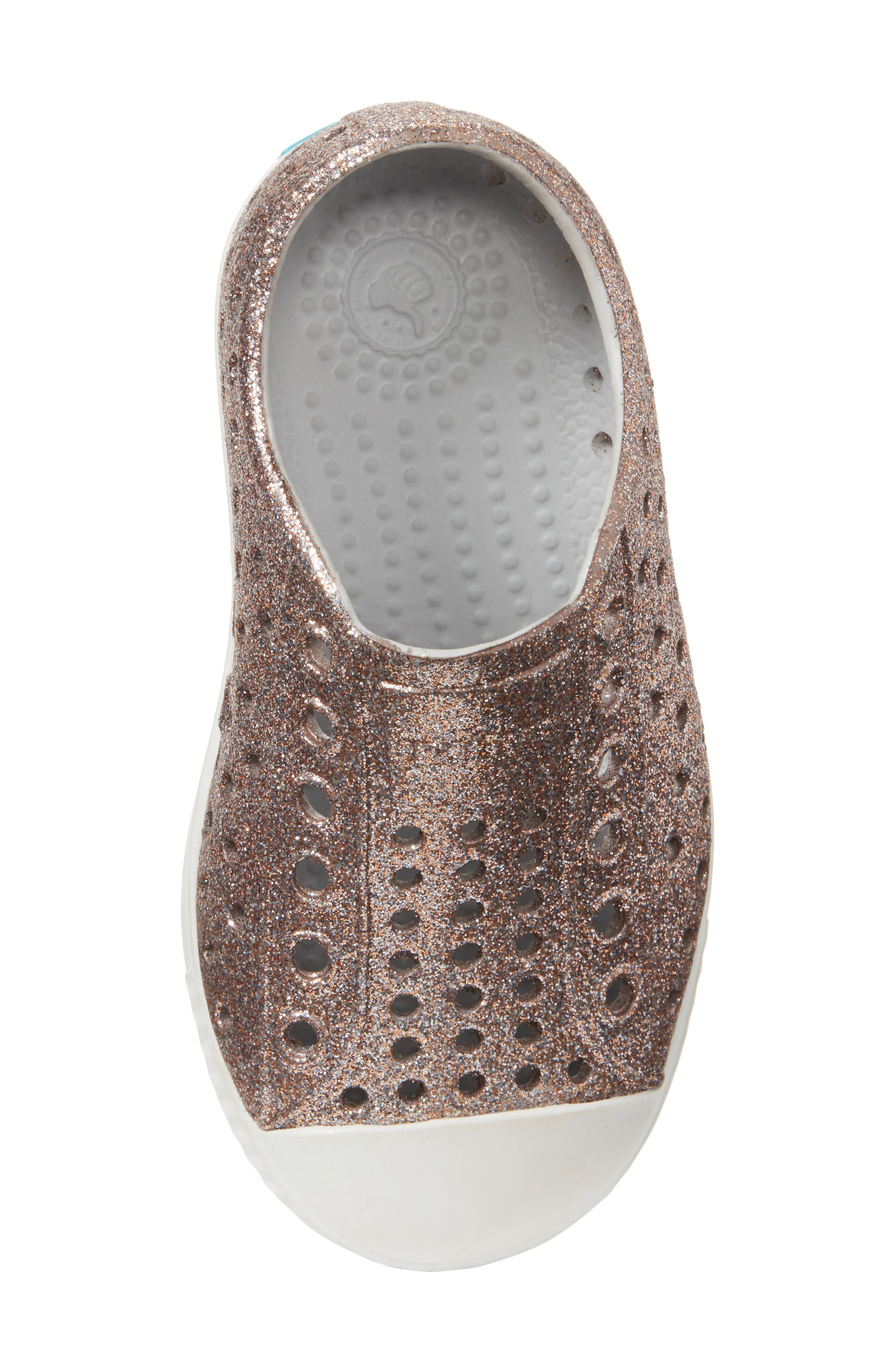 Jefferson - Bling Glitter Slip-On Sneaker,                             Alternate thumbnail 5, color,                             Metallic Bling/ Shell White