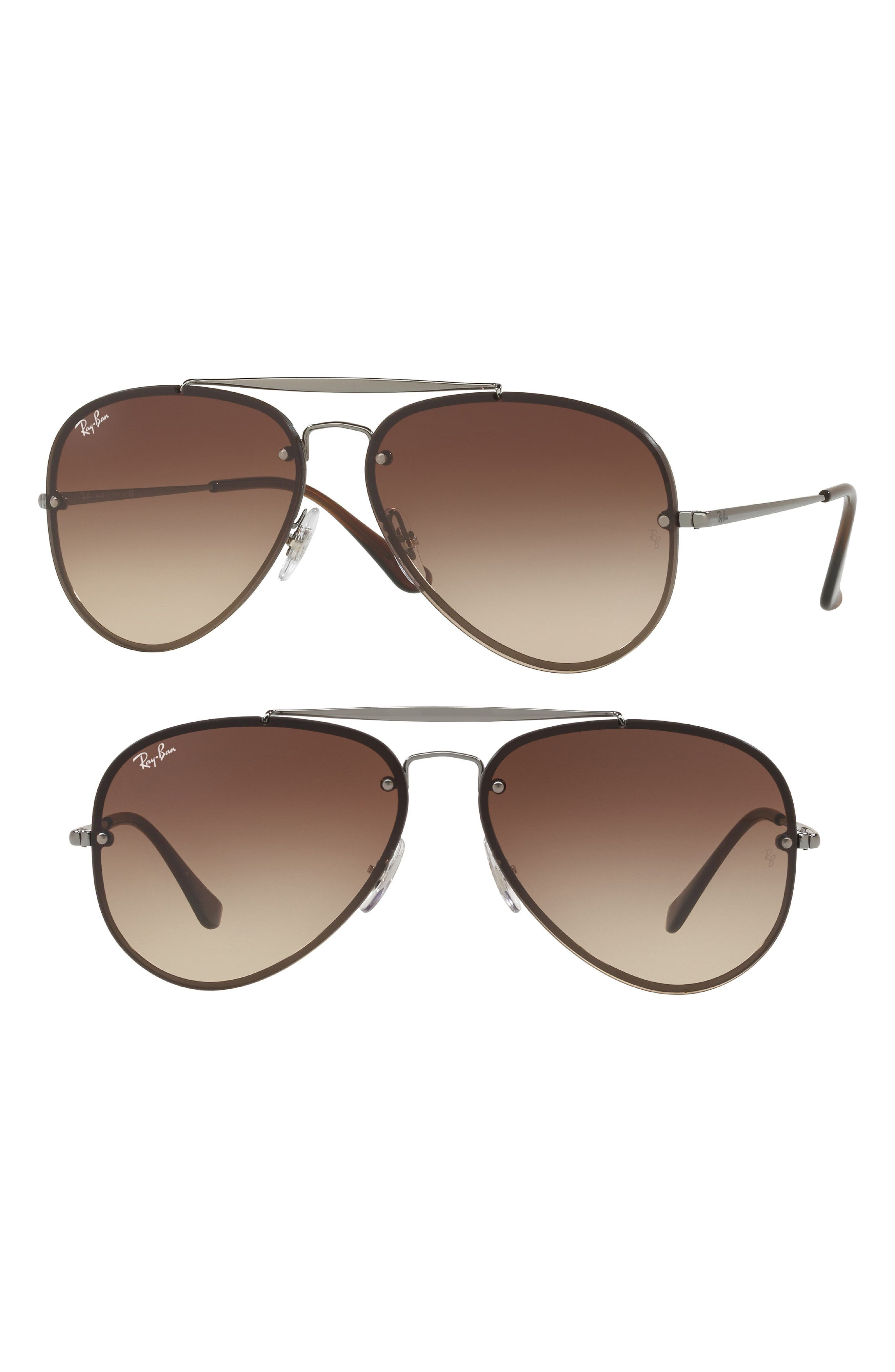 58mm Aviator Sunglasses,                         Main,                         color, Gunmetal/ Brown