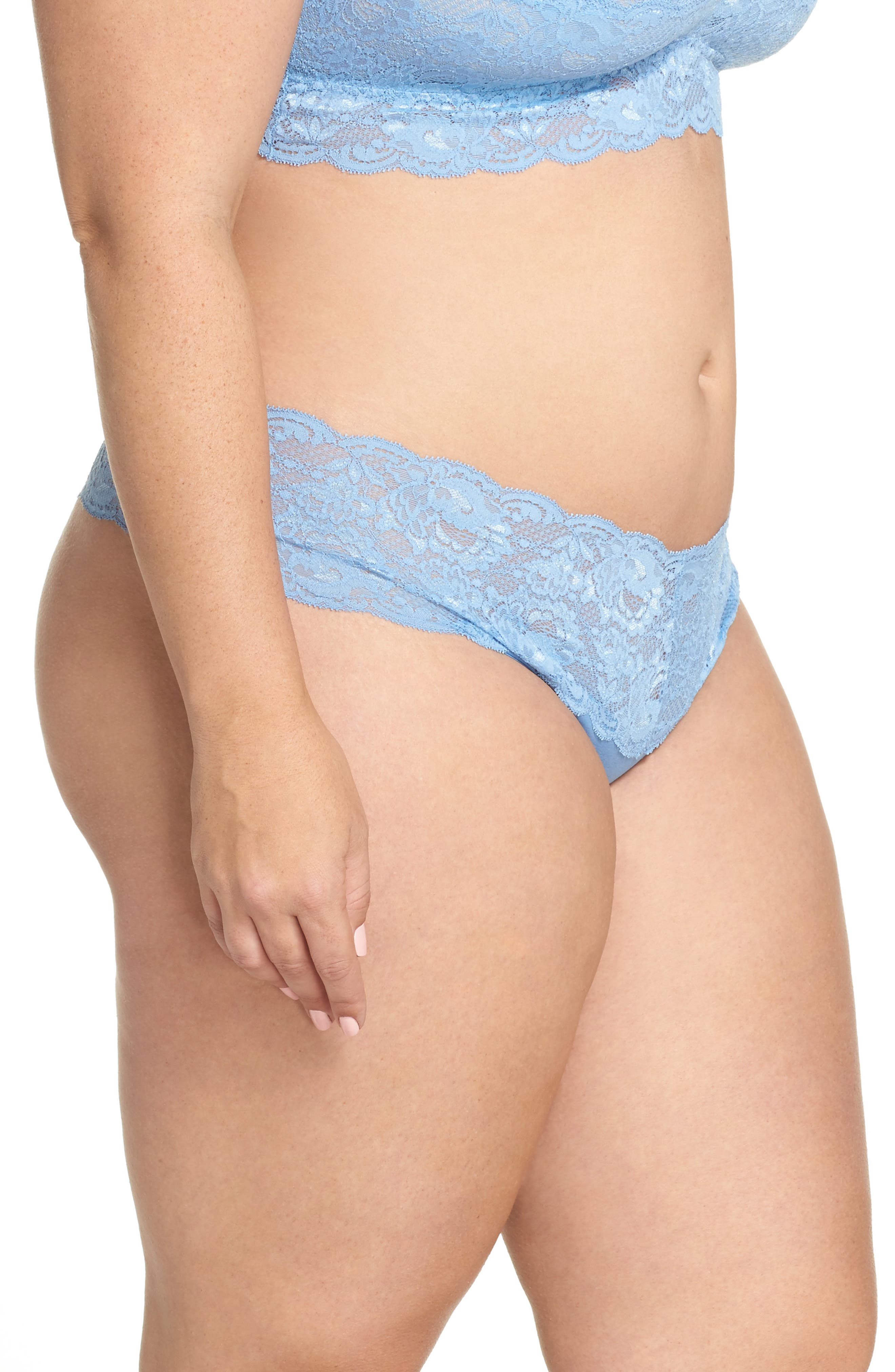 'Never Say Never Lovely' Thong,                             Alternate thumbnail 3, color,                             Jewel Blue