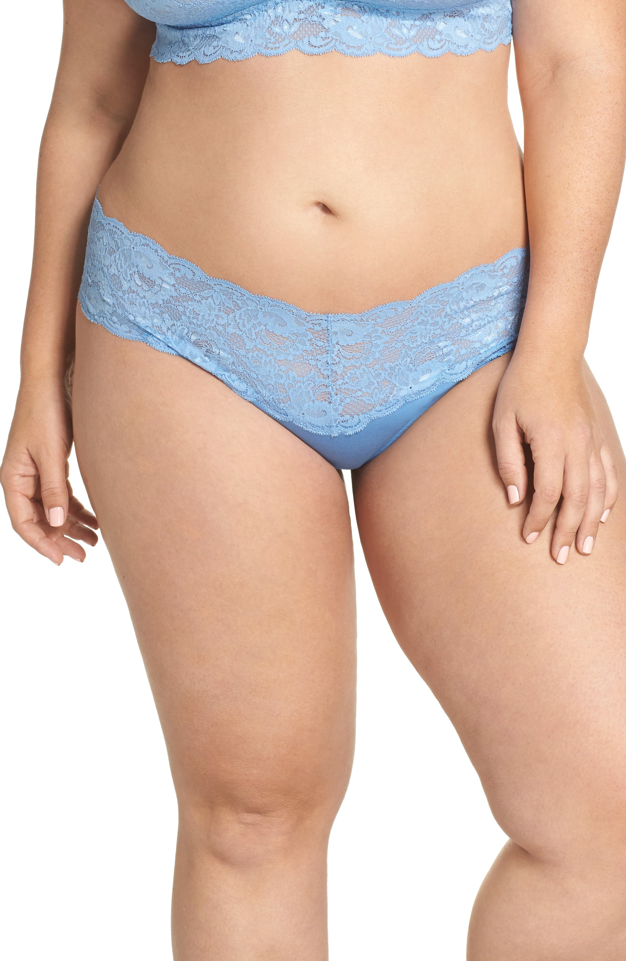 'Never Say Never Lovely' Thong,                         Main,                         color, Jewel Blue