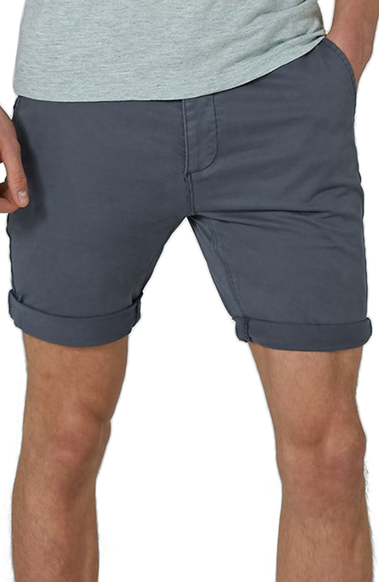 Stretch Skinny Chino Shorts,                             Main thumbnail 1, color,                             Dark Blue