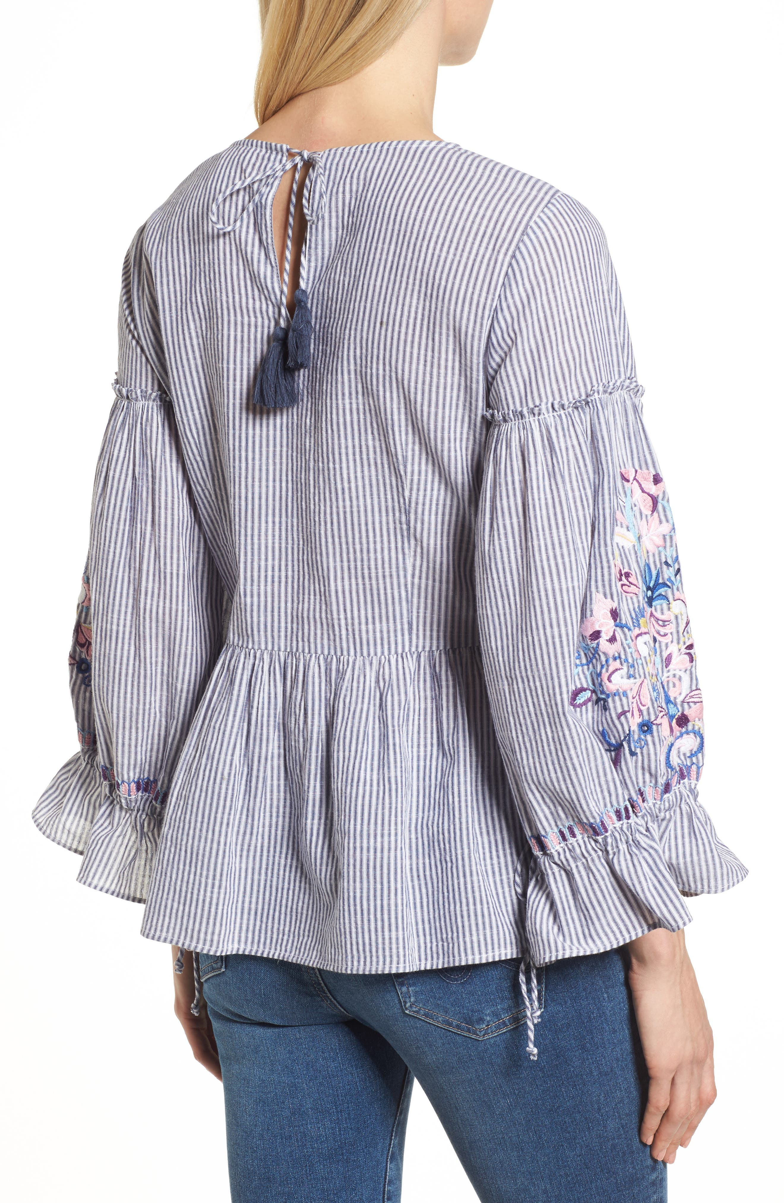 Embroidered Sleeve Top,                             Alternate thumbnail 2, color,                             Blue-White