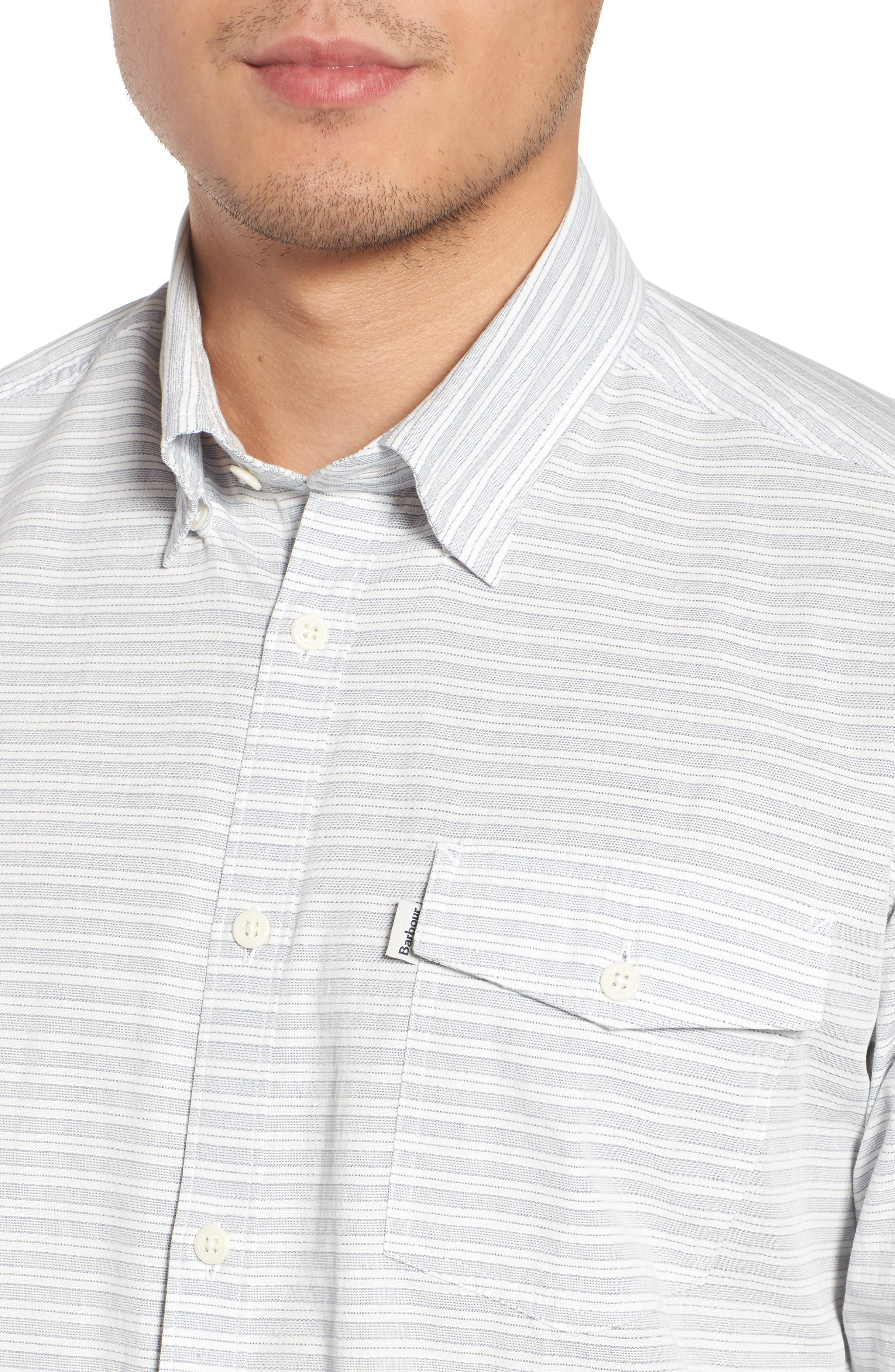 Huchen Regular Fit Stripe Sport Shirt,                             Alternate thumbnail 4, color,                             White