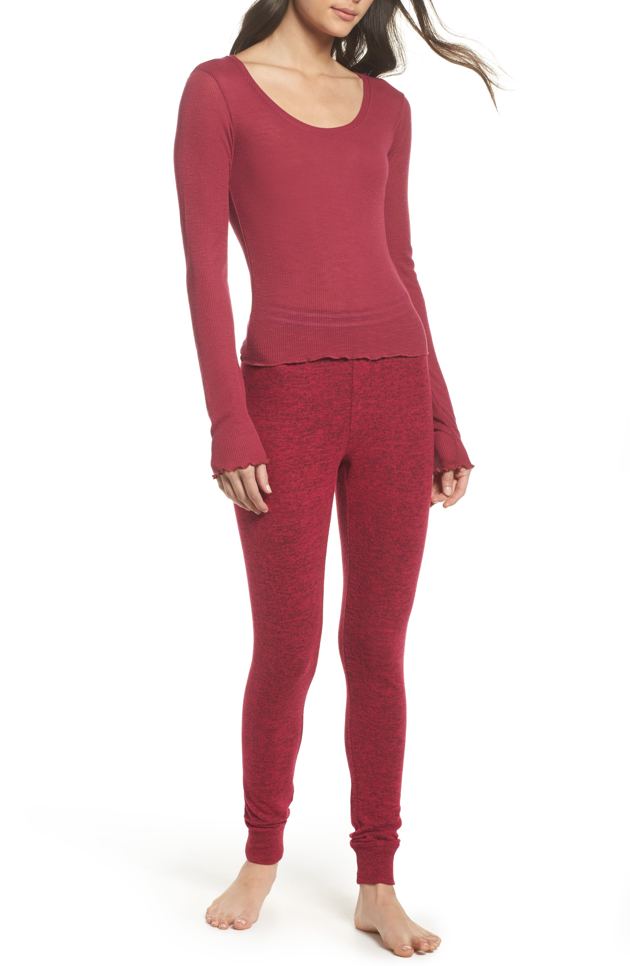 Cuddle Up Lounge Leggings,                             Alternate thumbnail 5, color,                             Pink Vivacious Marl