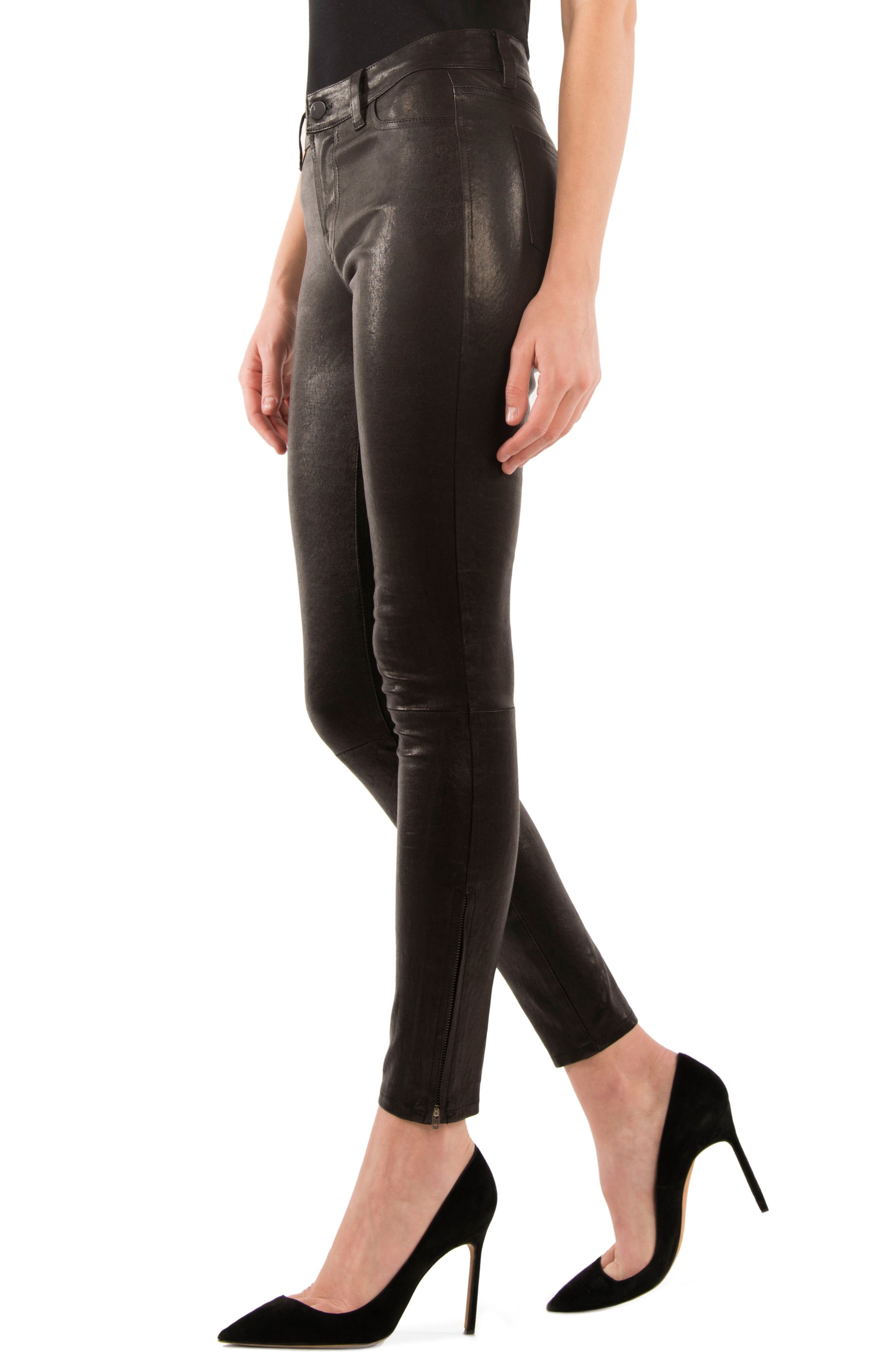 '8001' Lambskin Leather Pants,                             Alternate thumbnail 3, color,                             Noir