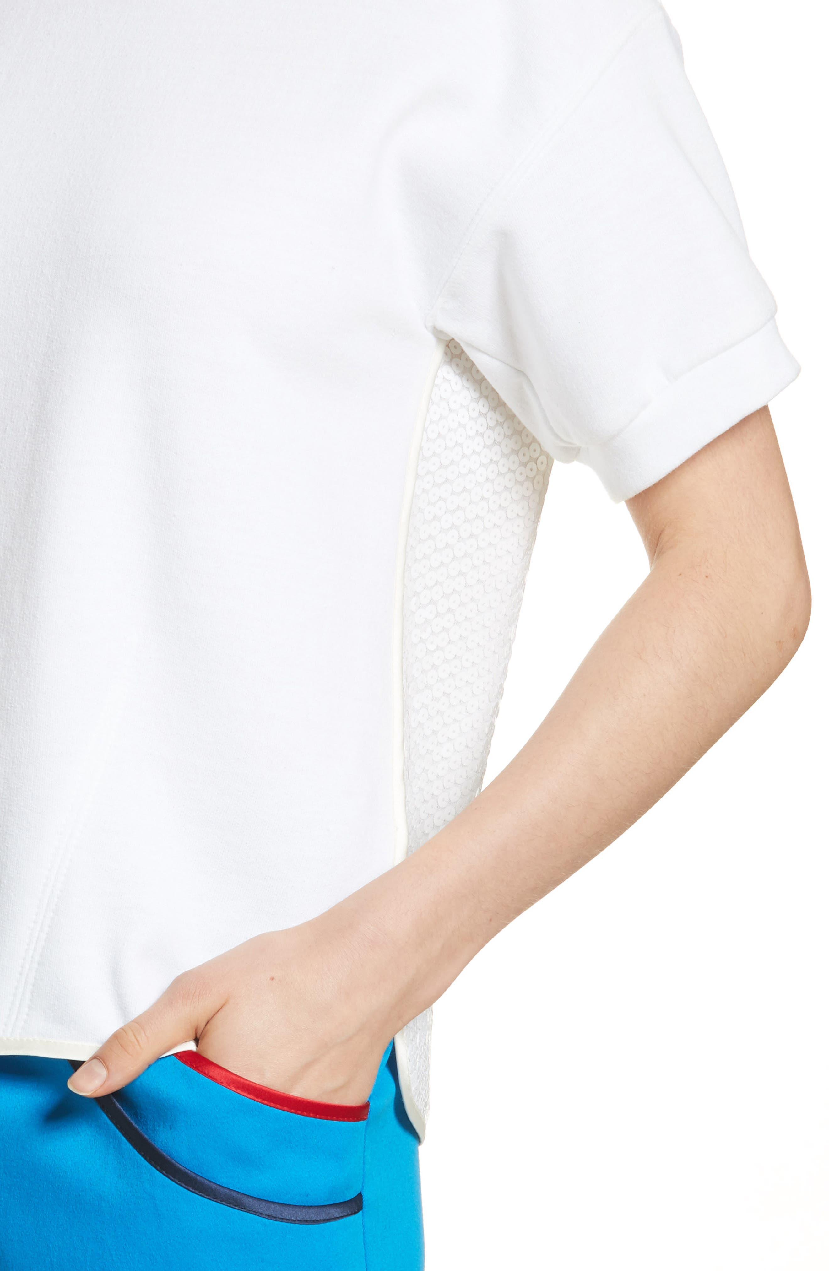 Sequin Back Sweatshirt,                             Alternate thumbnail 4, color,                             White