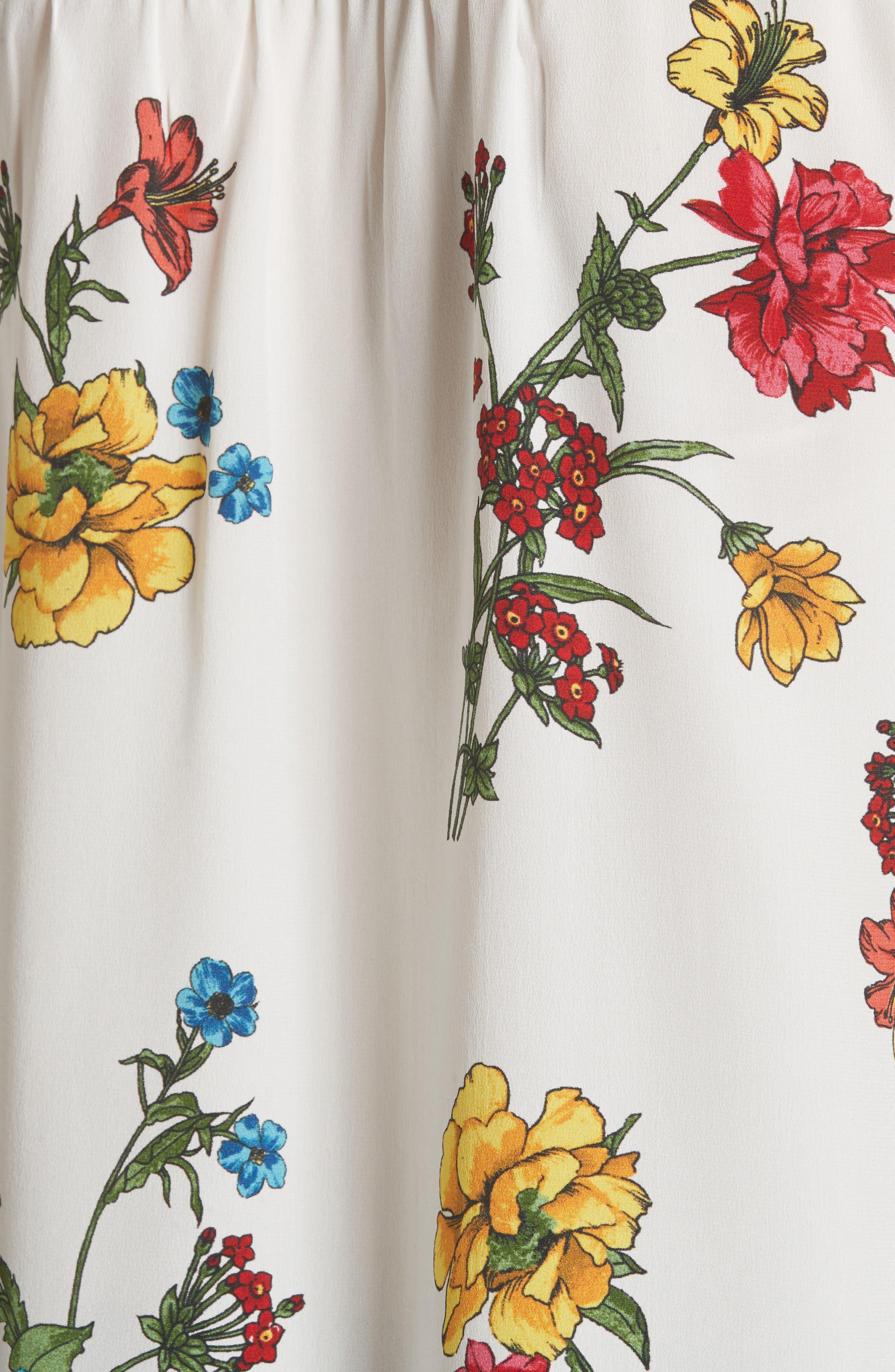 Yaritza B Floral Silk Top,                             Alternate thumbnail 5, color,                             Porcelain