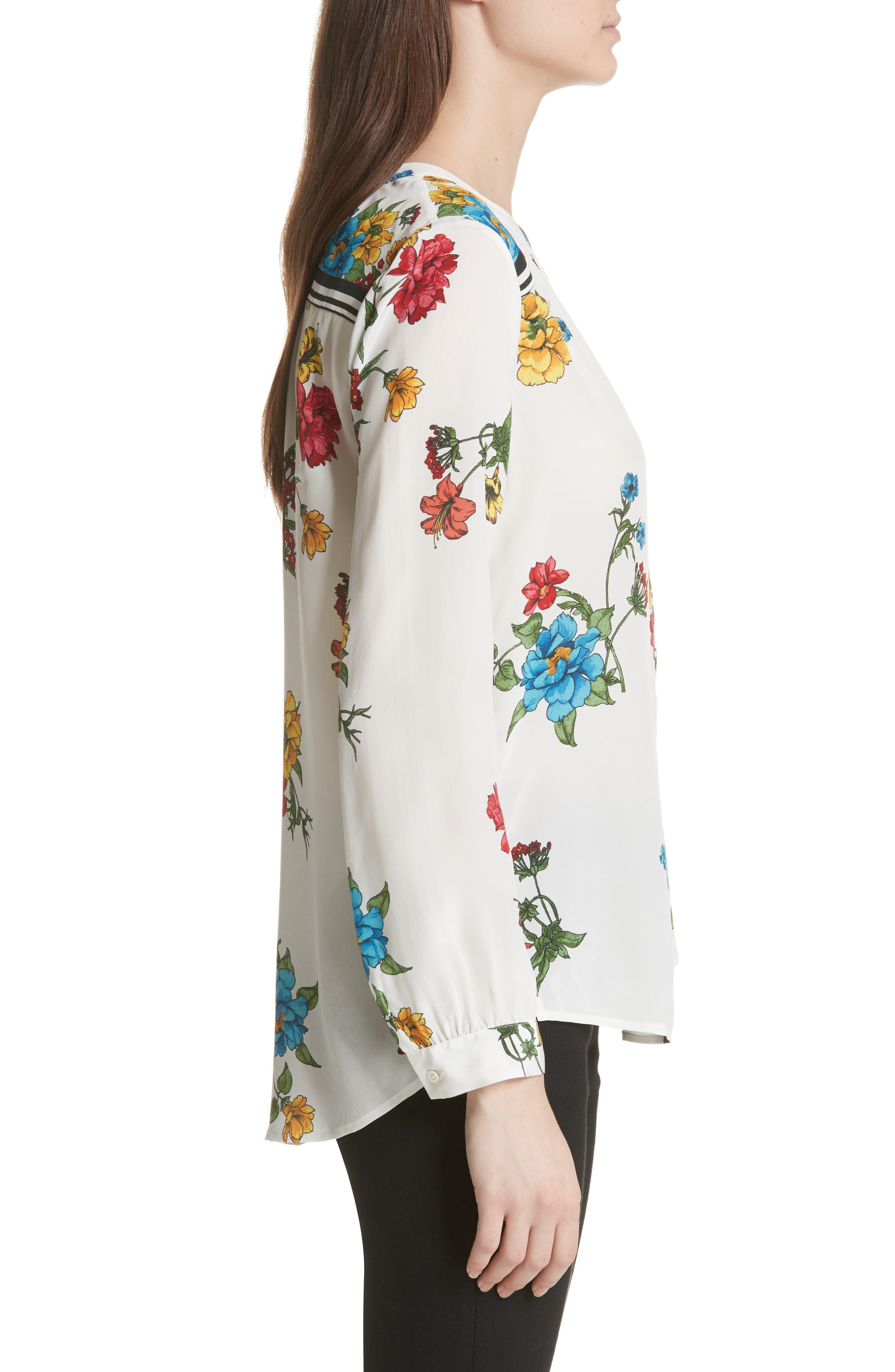 Yaritza B Floral Silk Top,                             Alternate thumbnail 3, color,                             Porcelain