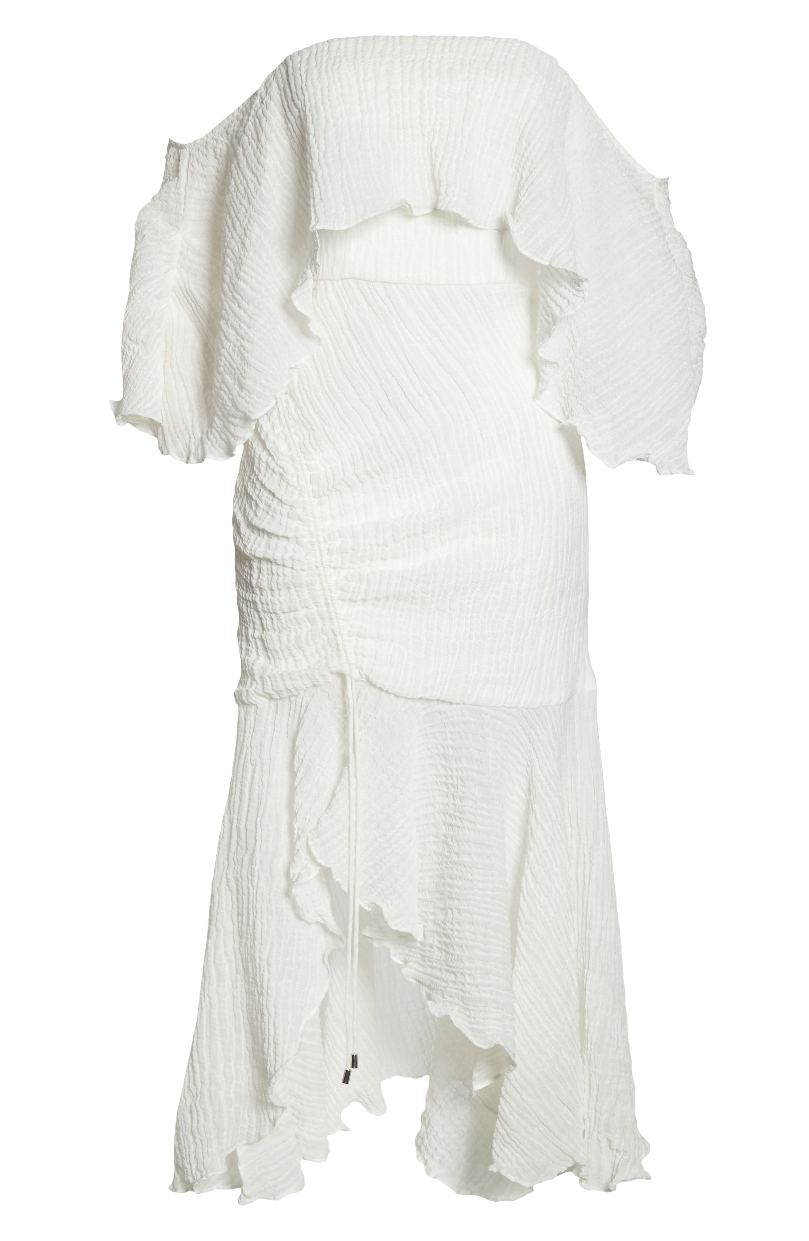 Sacrifices Ruched Off the Shoulder Dress,                             Alternate thumbnail 7, color,                             Ivory