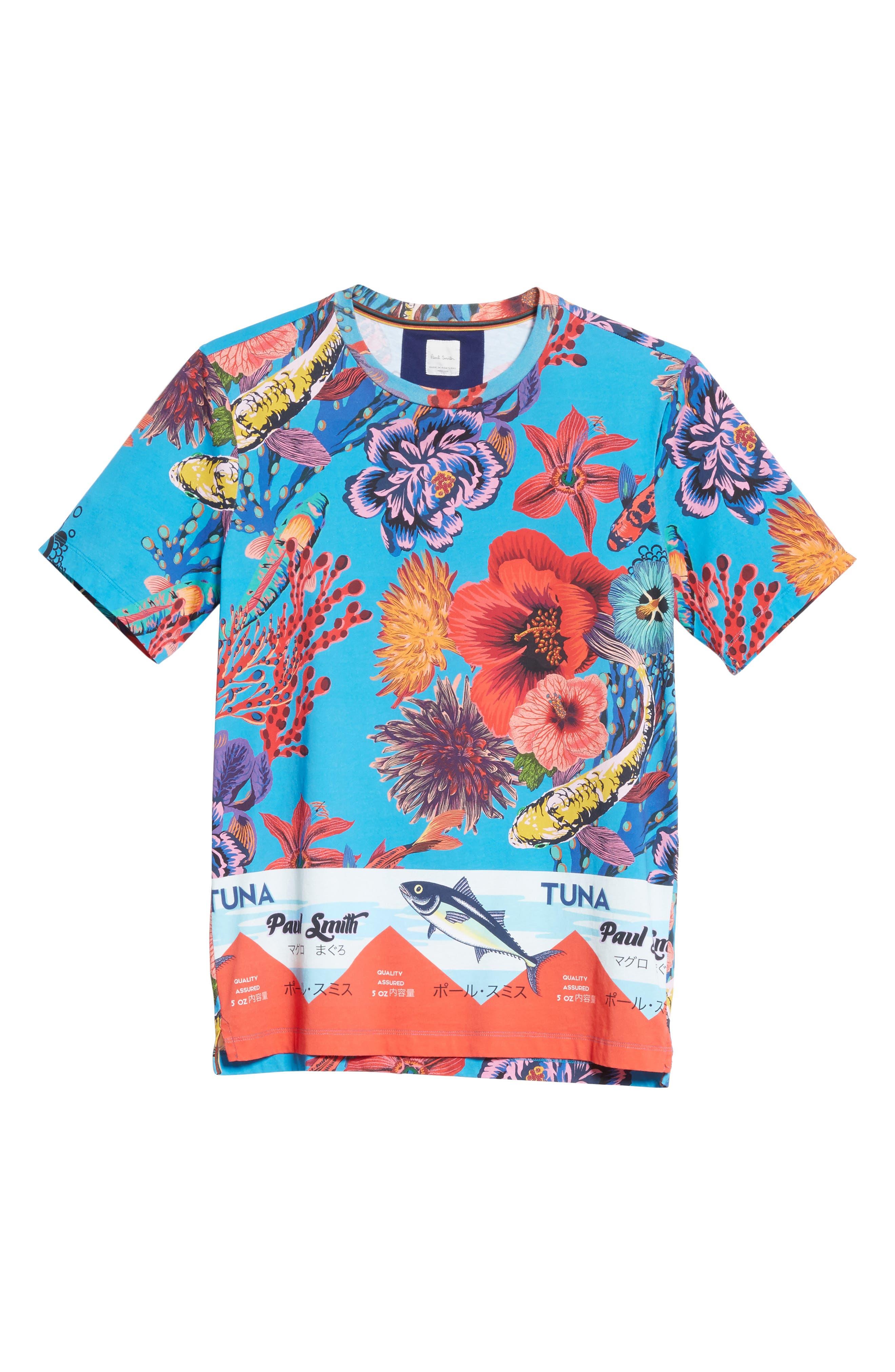 Fish Print T-Shirt,                             Alternate thumbnail 6, color,                             41 Blue Multi