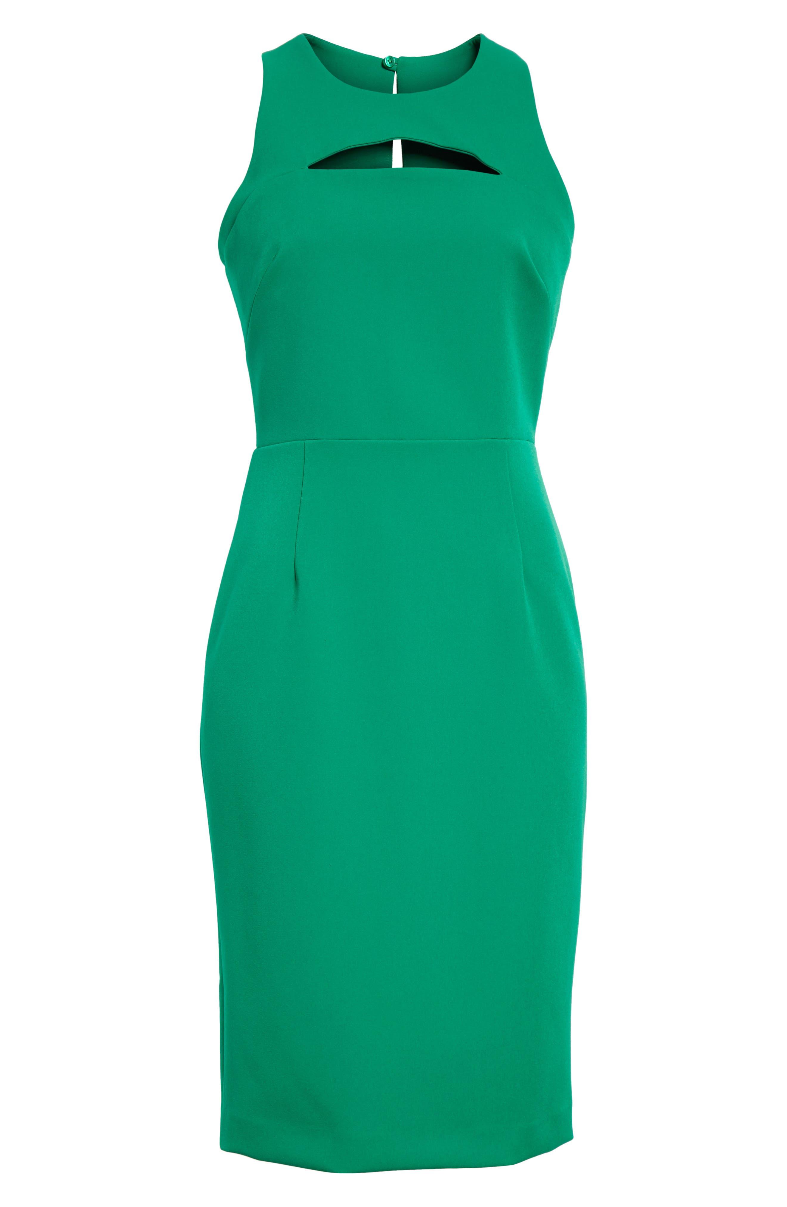 Luna Cutout Detail Crepe Sheath Dress,                             Alternate thumbnail 6, color,                             Emerald