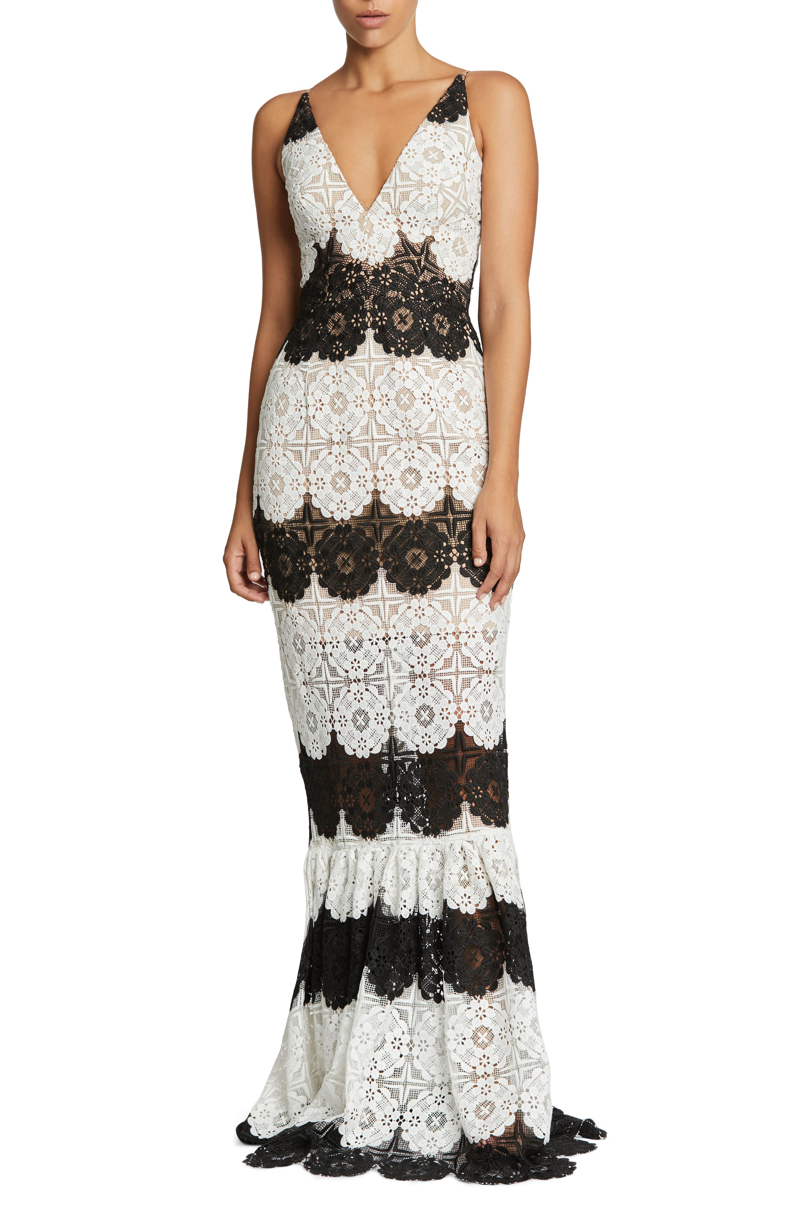 Candace Crochet Mermaid Gown,                         Main,                         color, White/ Black