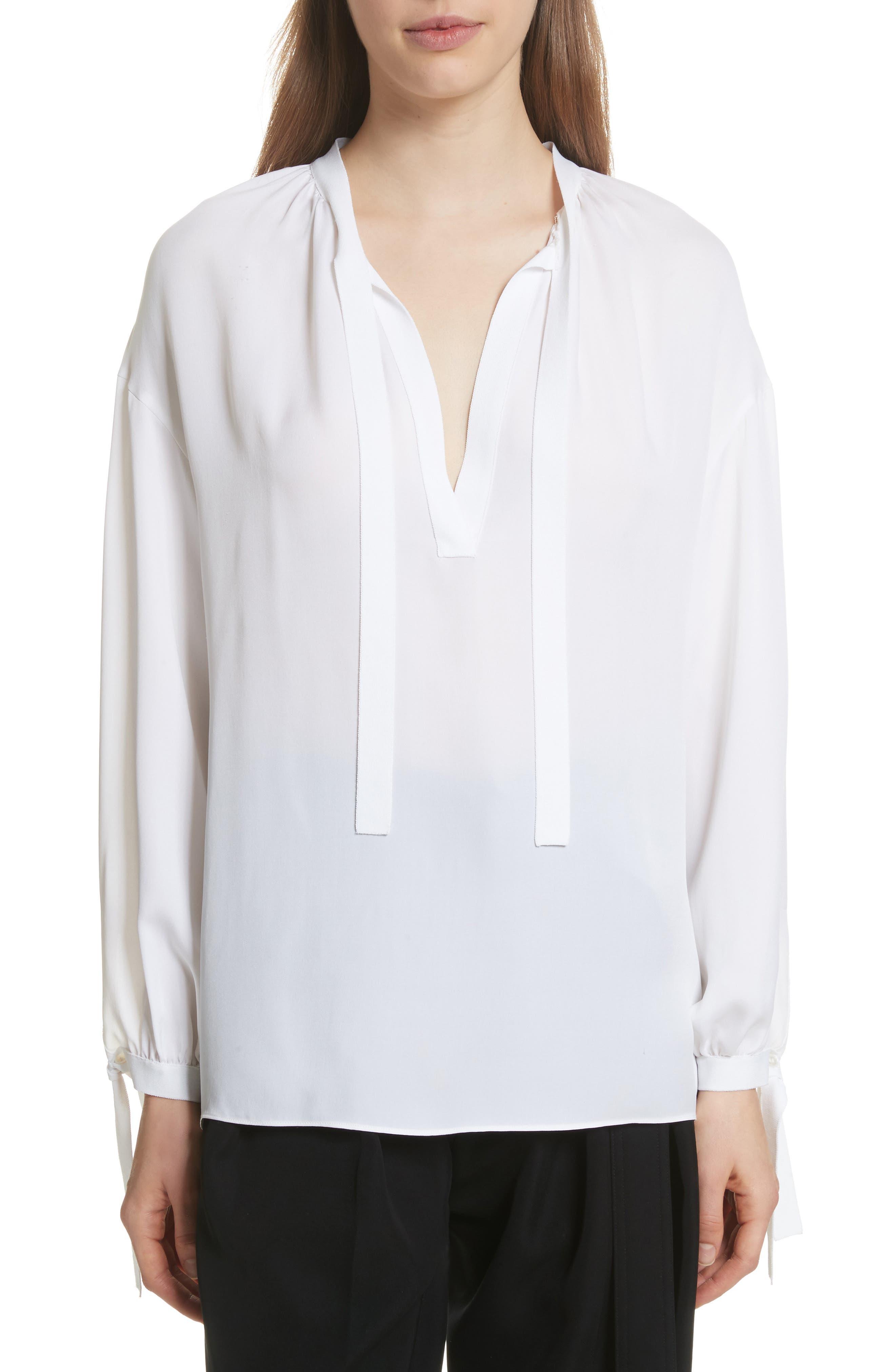 Tie Detail Silk Poet Blouse,                         Main,                         color, Optic White
