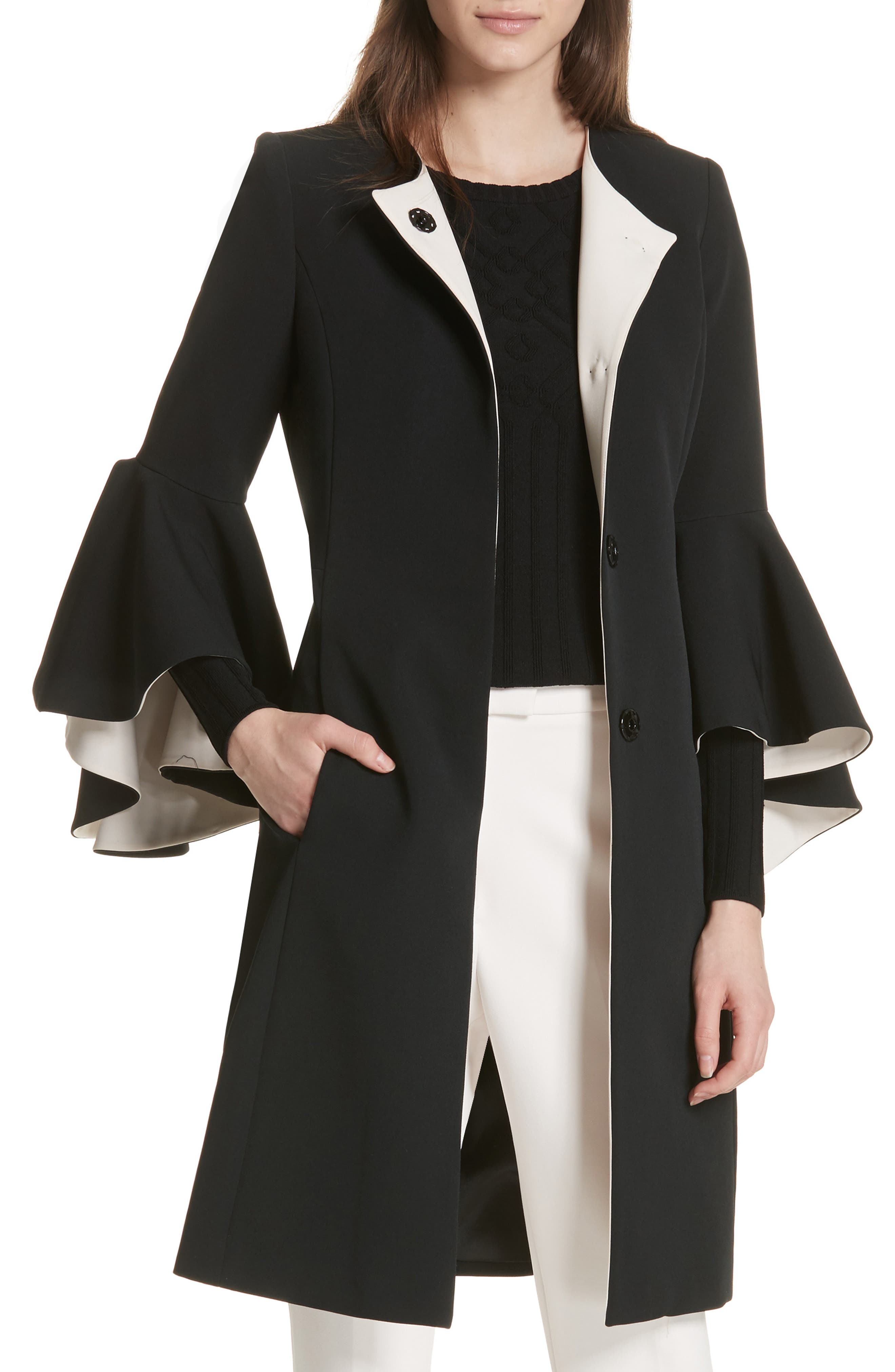 Selena Ruffle Sleeve Coat,                             Main thumbnail 1, color,                             Black/ Cream