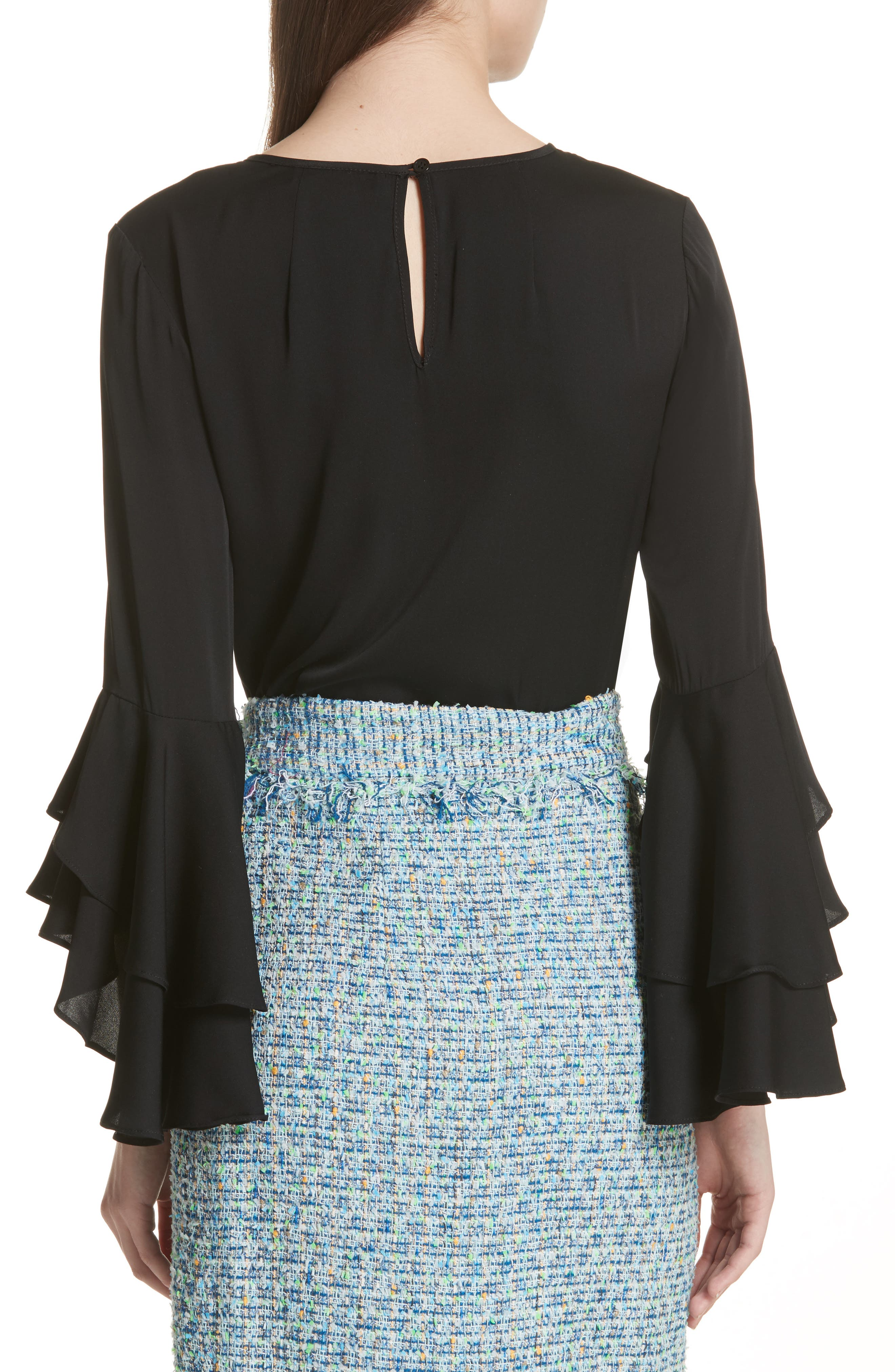 Gabby Bell Sleeve Silk Crepe Top,                             Alternate thumbnail 2, color,                             Black