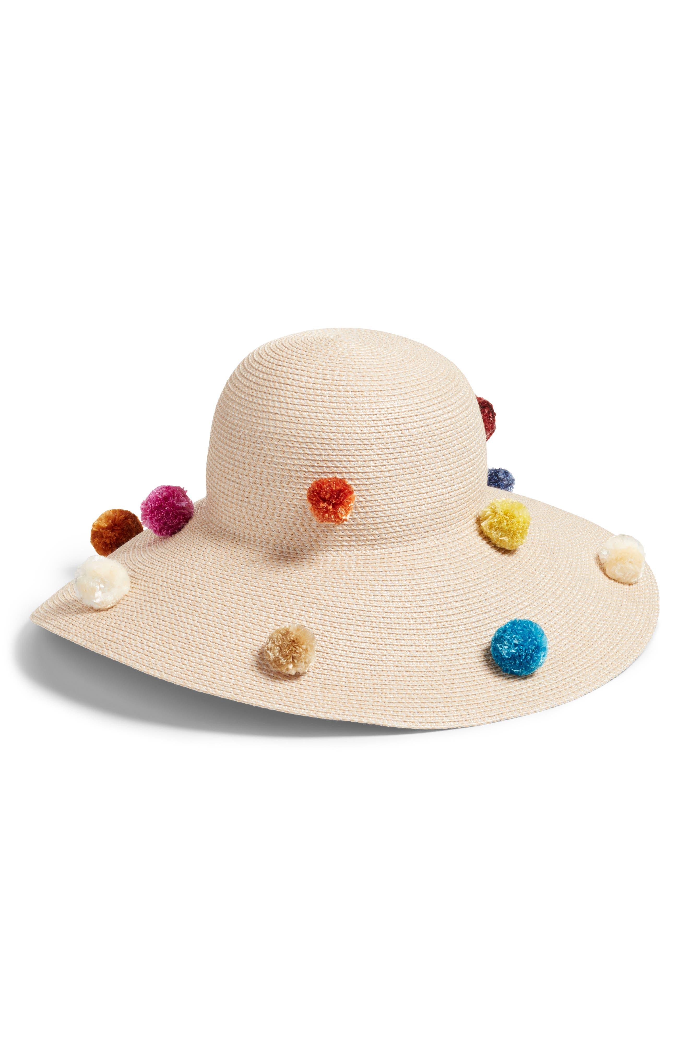 Pompom Bella Squishee<sup>®</sup> Sun Hat,                         Main,                         color, Cream Mix