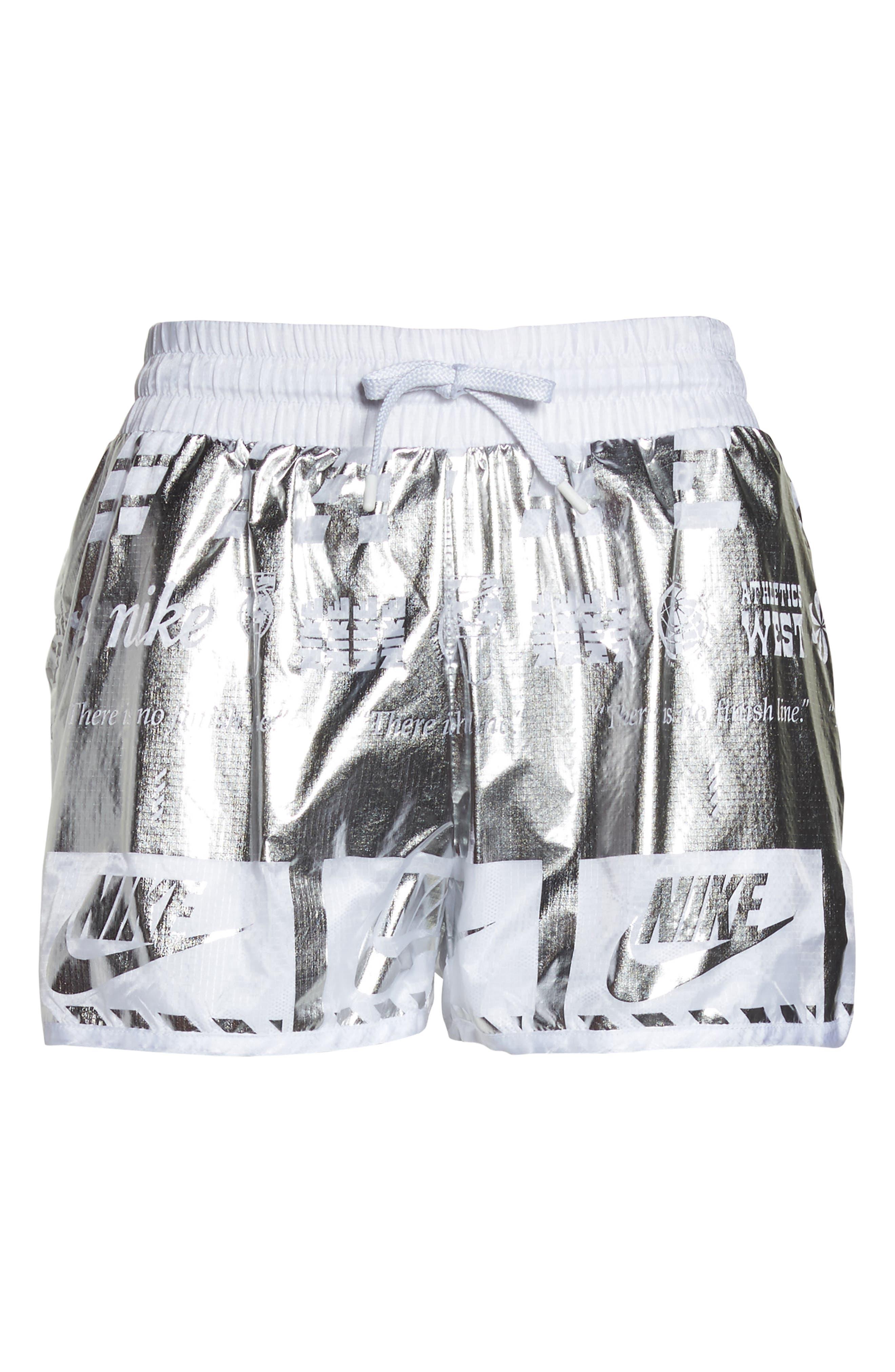 Sportswear Women's Metallic Shorts,                             Alternate thumbnail 7, color,                             White/ White