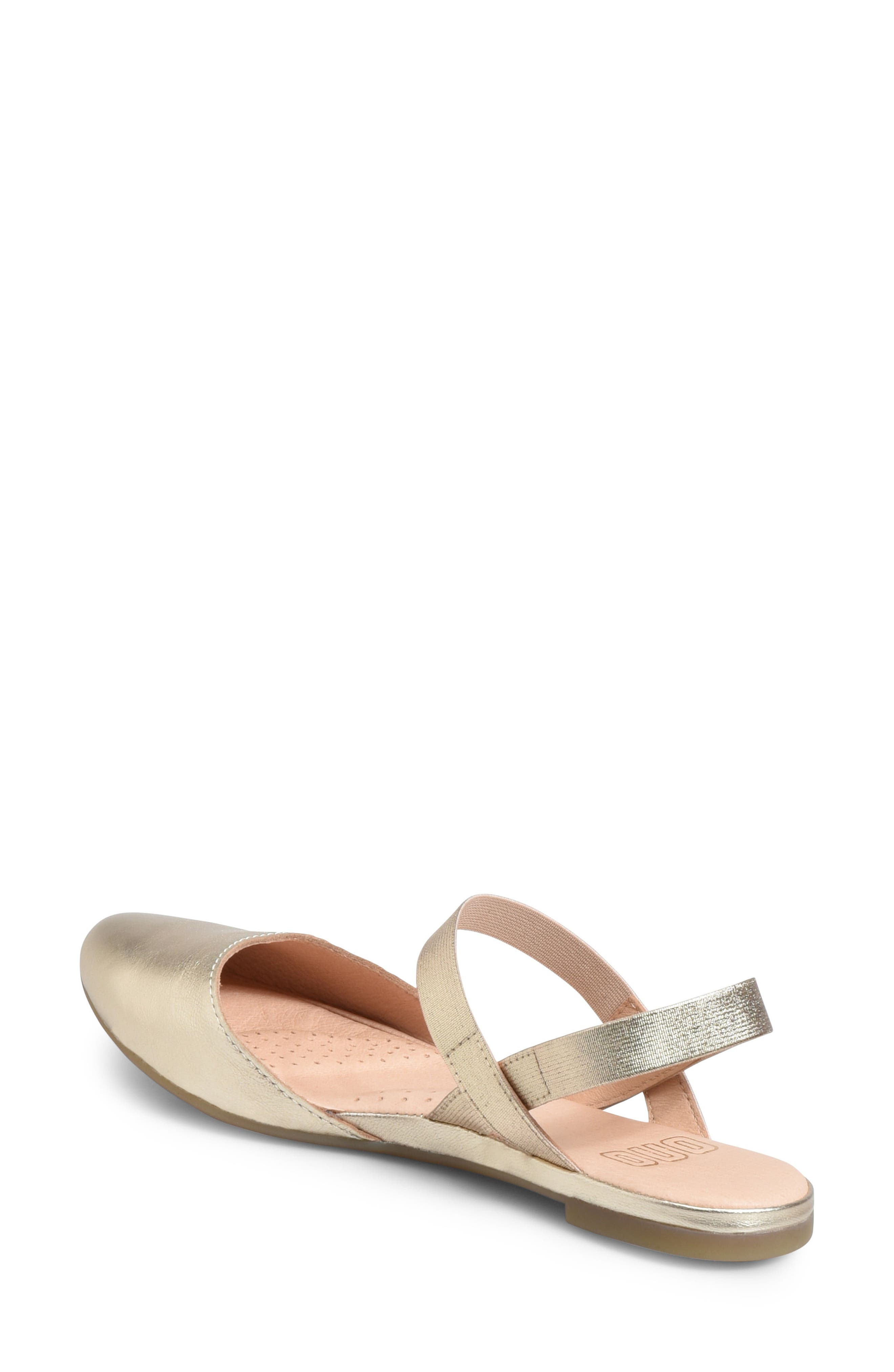 Free Ankle Strap Flat,                             Alternate thumbnail 2, color,                             Gold Metallic Leather