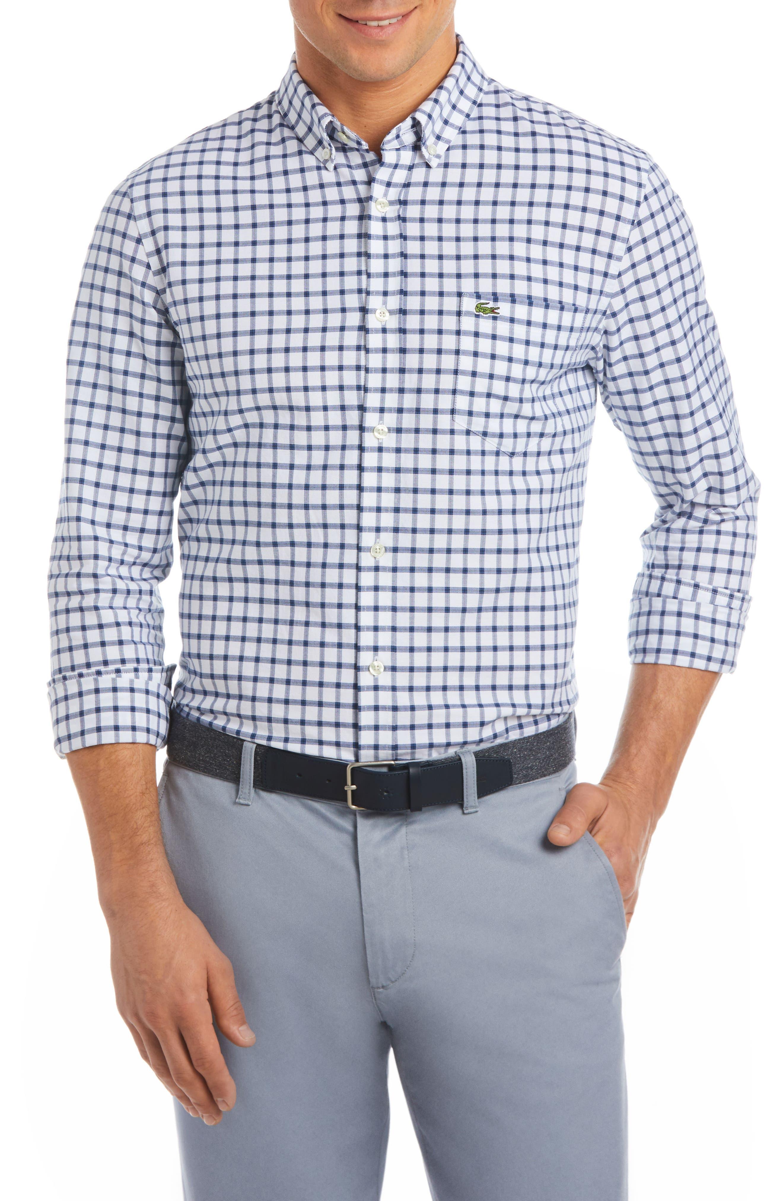 Slim Fit Grid Cotton Sport Shirt,                         Main,                         color, White/ Navy Blue