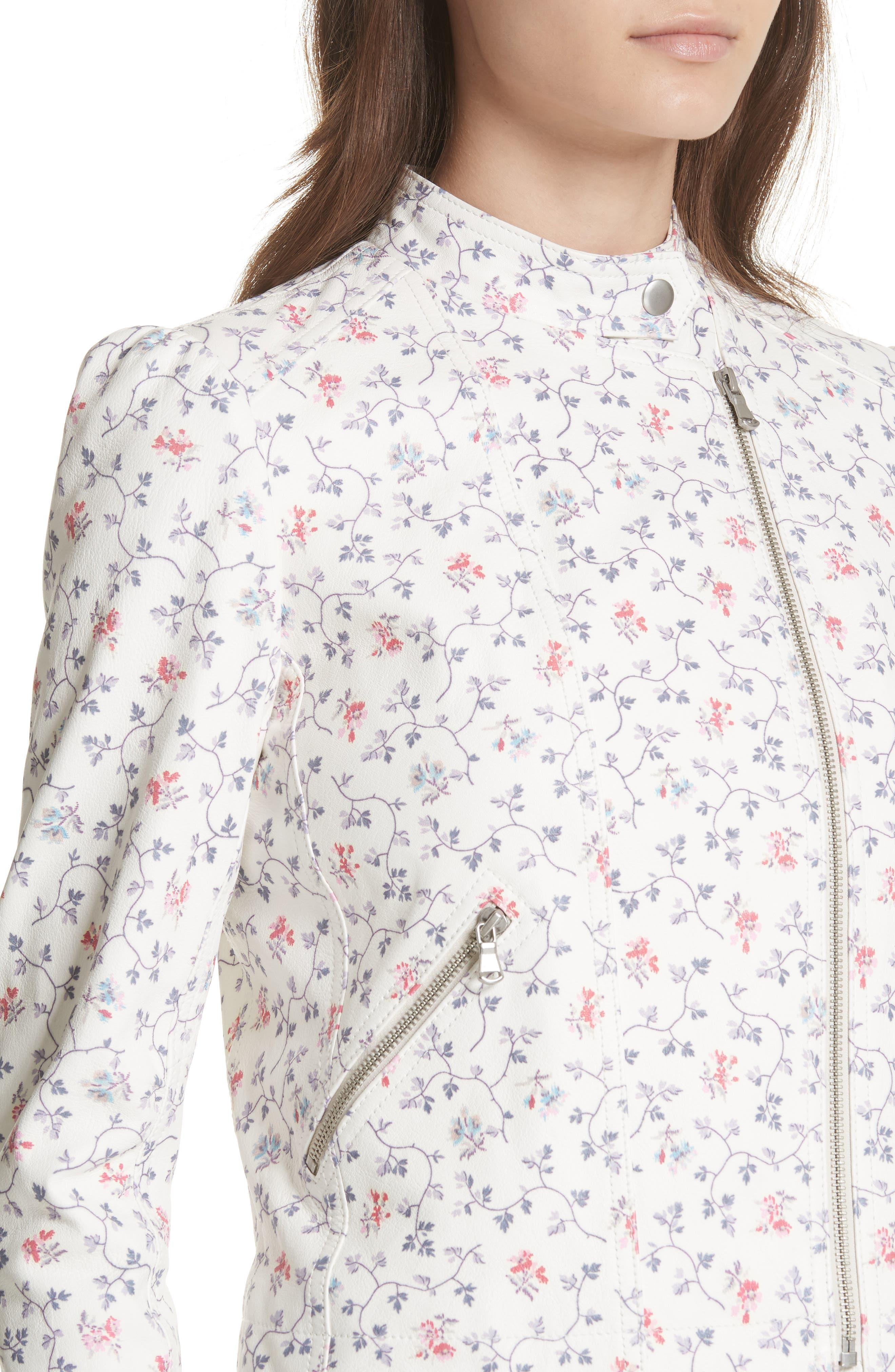 Floral Vine Leather Jacket,                             Alternate thumbnail 4, color,                             Vanilla