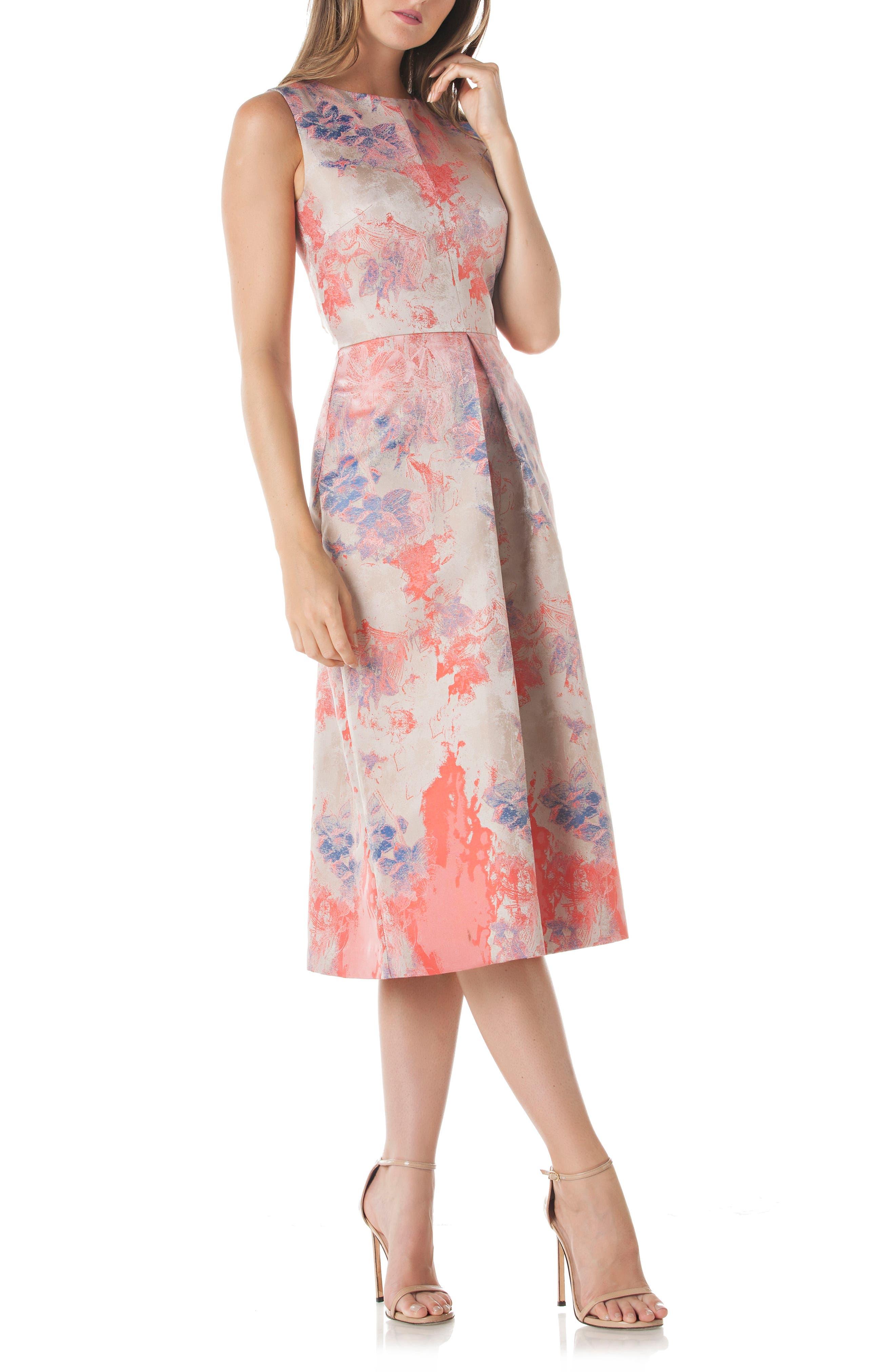 Floral Pleat Midi Dress,                         Main,                         color, Champaign Multi