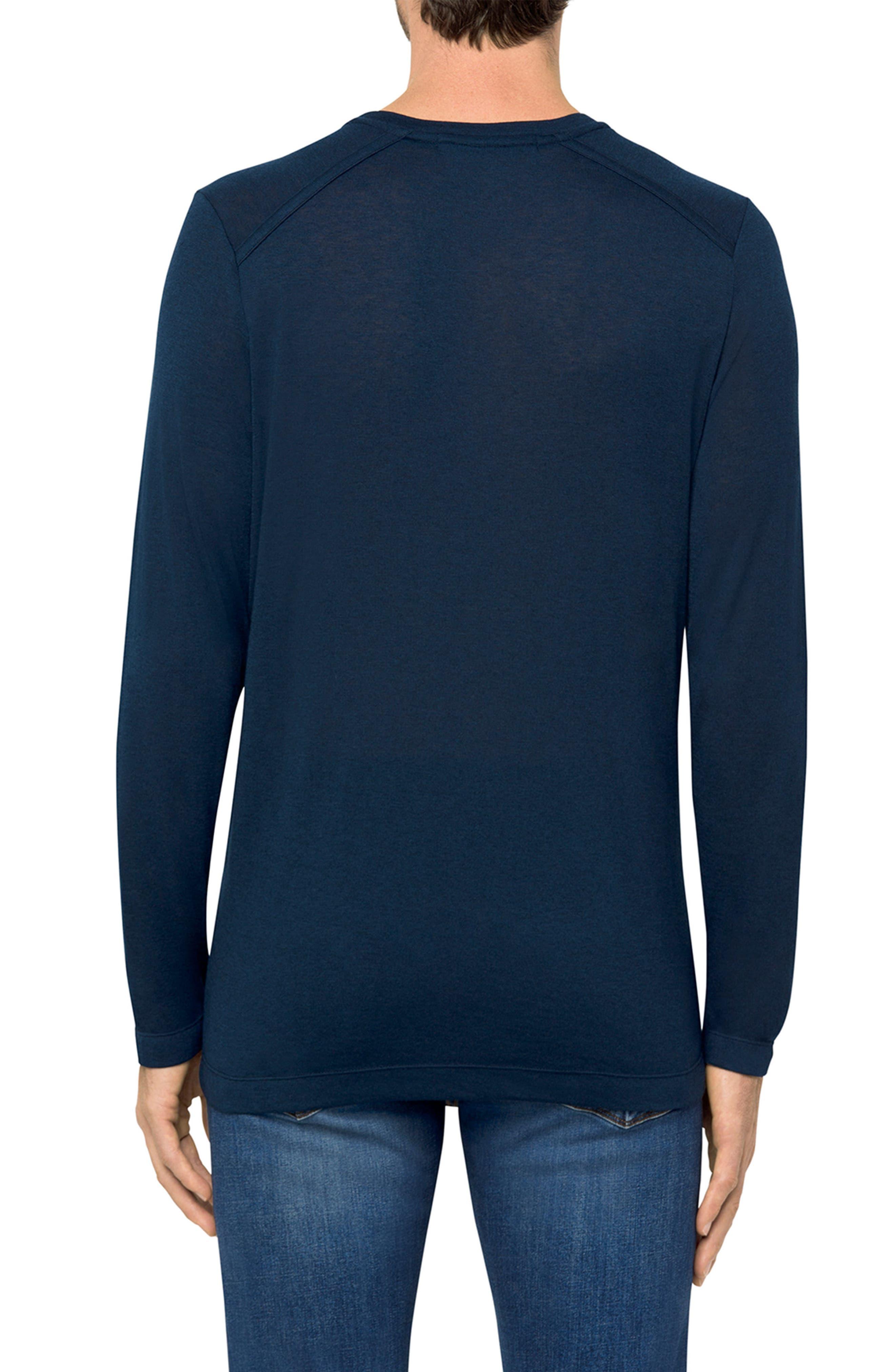 Grandpa Long Sleeve Linen T-Shirt,                             Alternate thumbnail 2, color,                             Navy