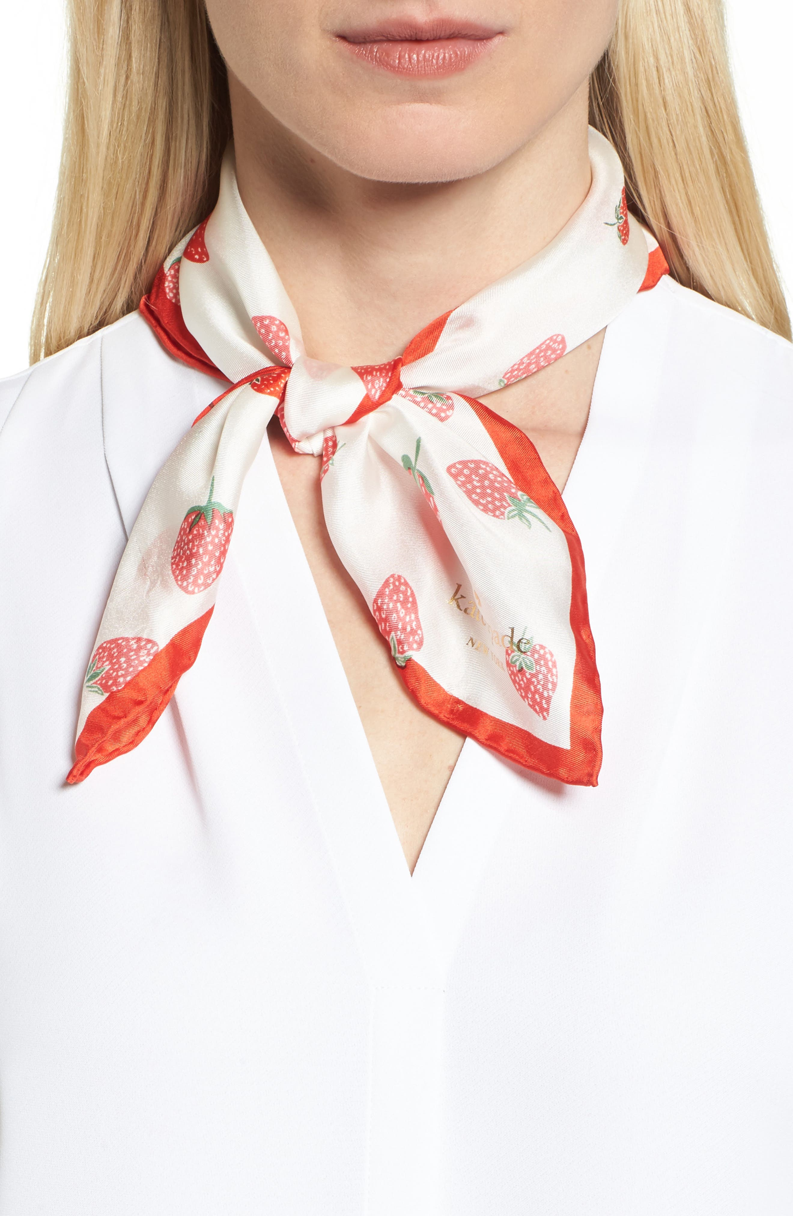tossed berry silk bandana,                             Main thumbnail 1, color,                             Cream