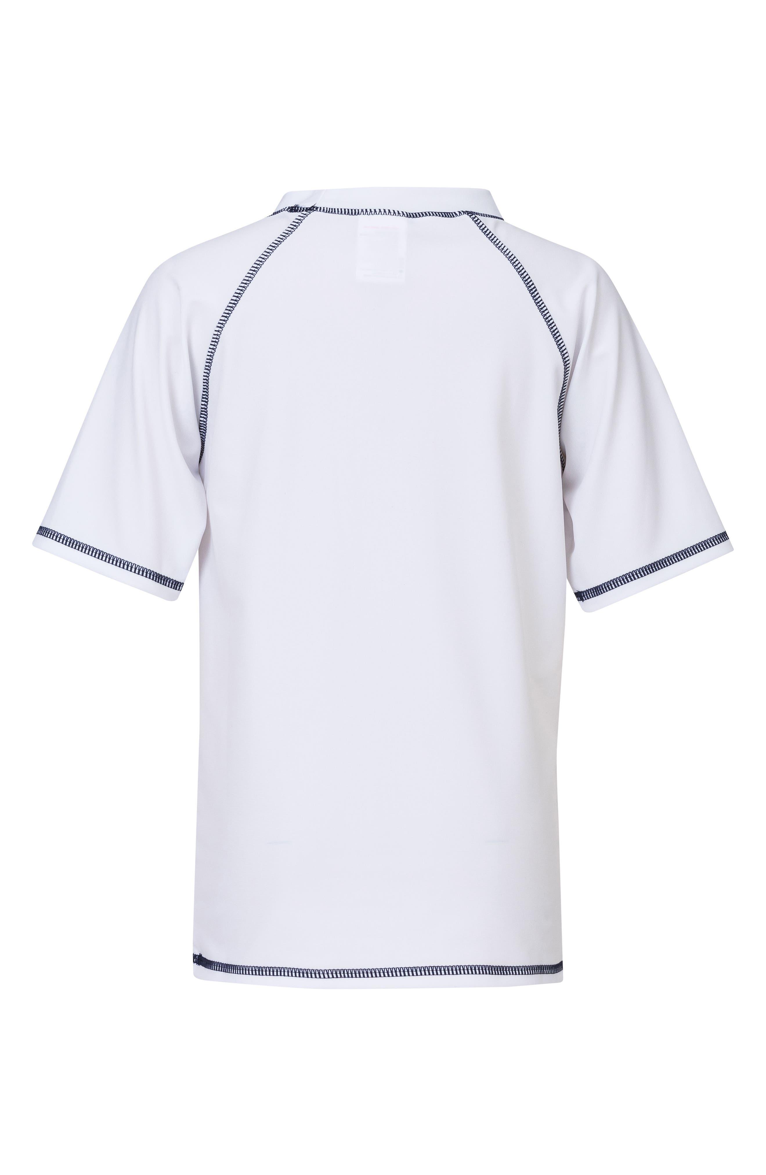 Raglan Short Sleeve Rashguard,                             Alternate thumbnail 2, color,                             White/ Navy