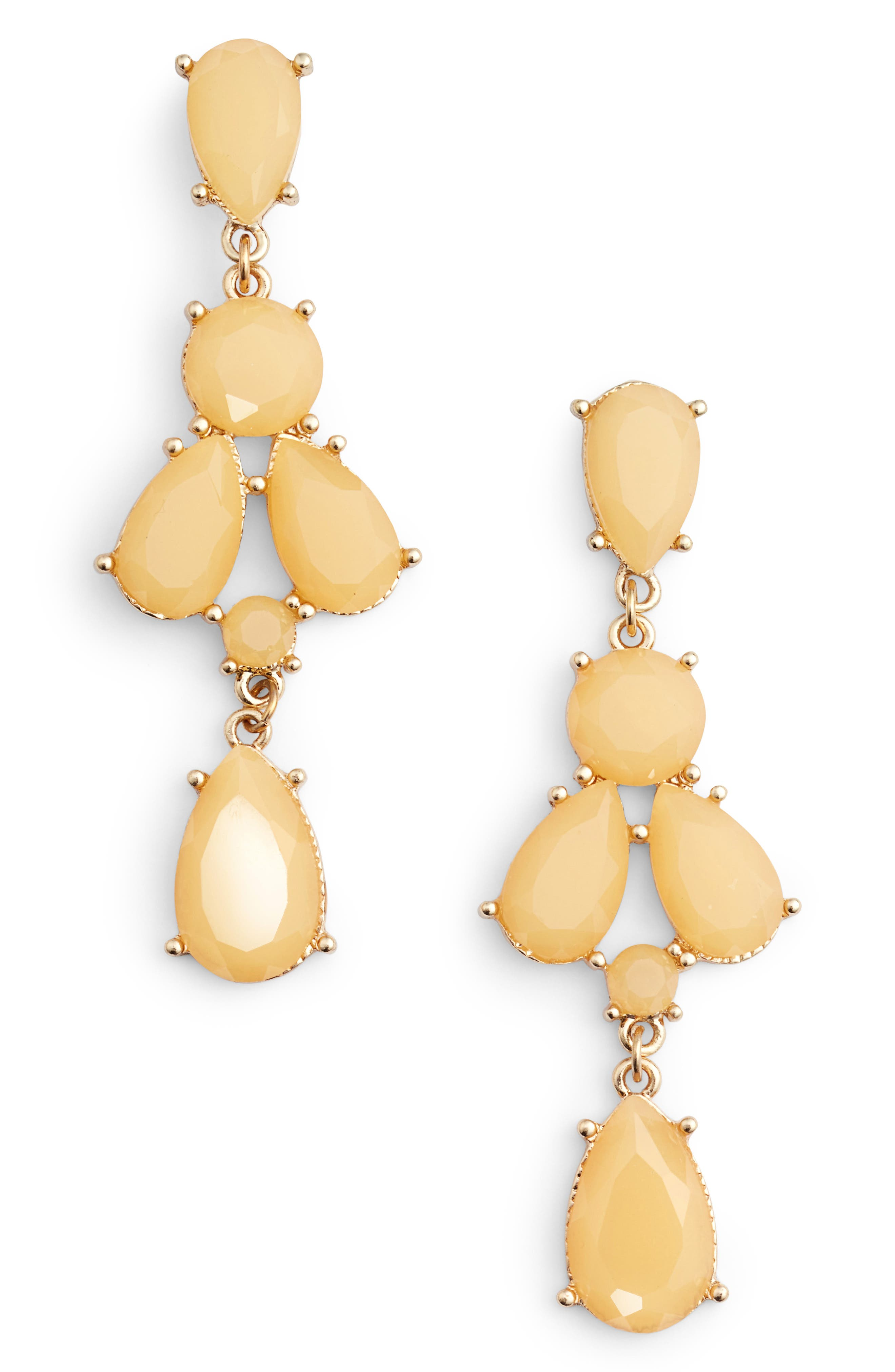 ADIA KIBUR Stone Drop Earrings in Pastel Pink