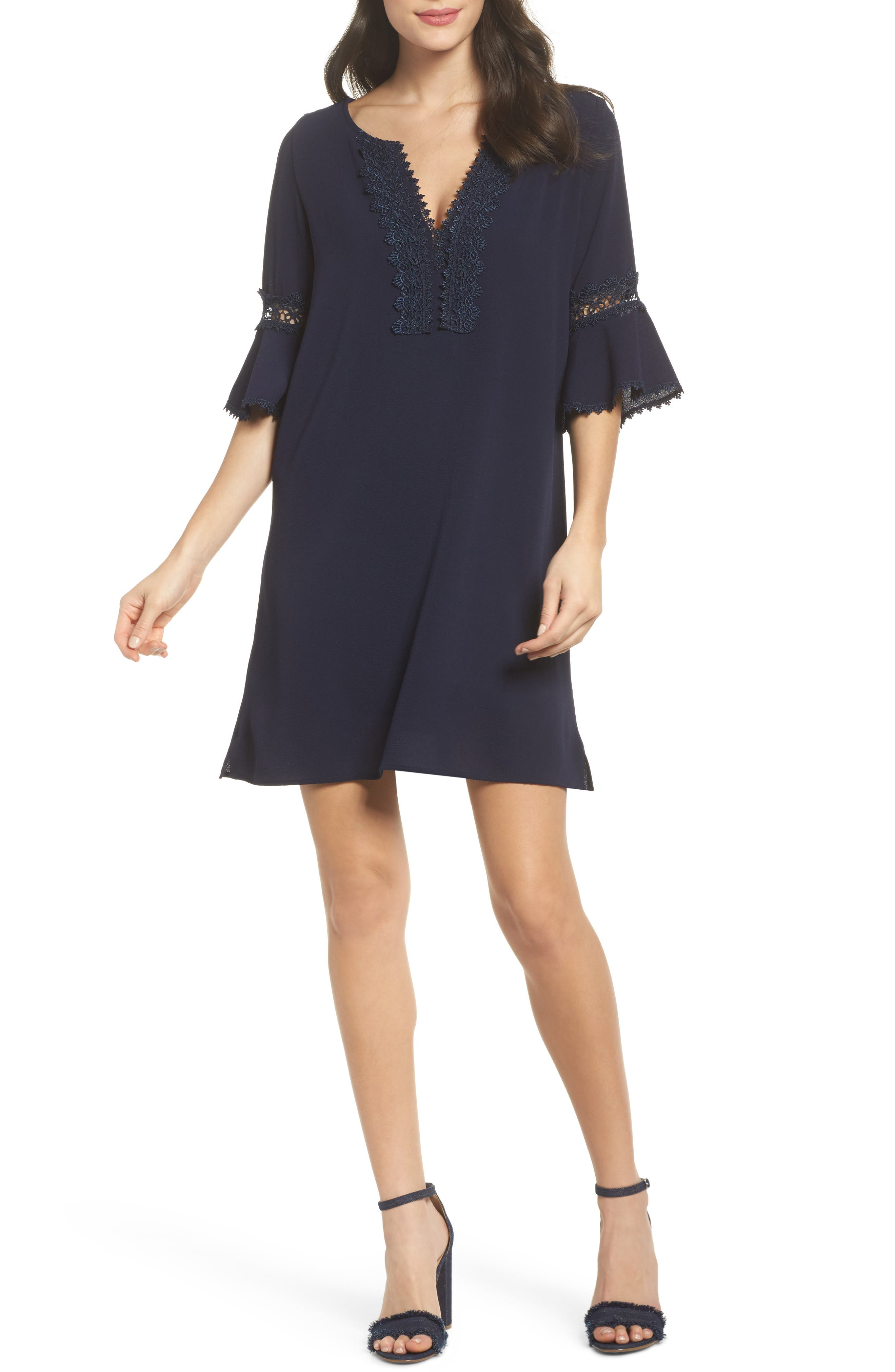 Bell Sleeve Shift Dress,                         Main,                         color, Navy