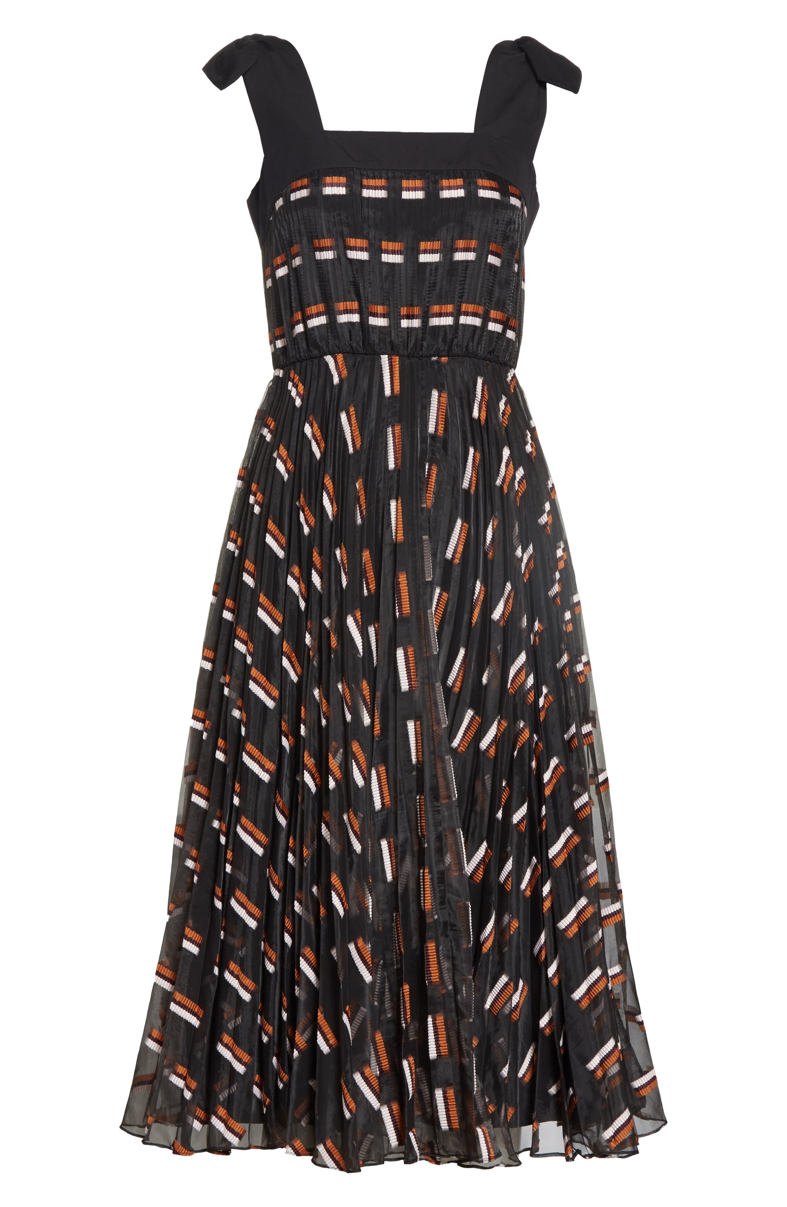Fil Coupé Midi Dress,                             Alternate thumbnail 5, color,                             Ginger Multi