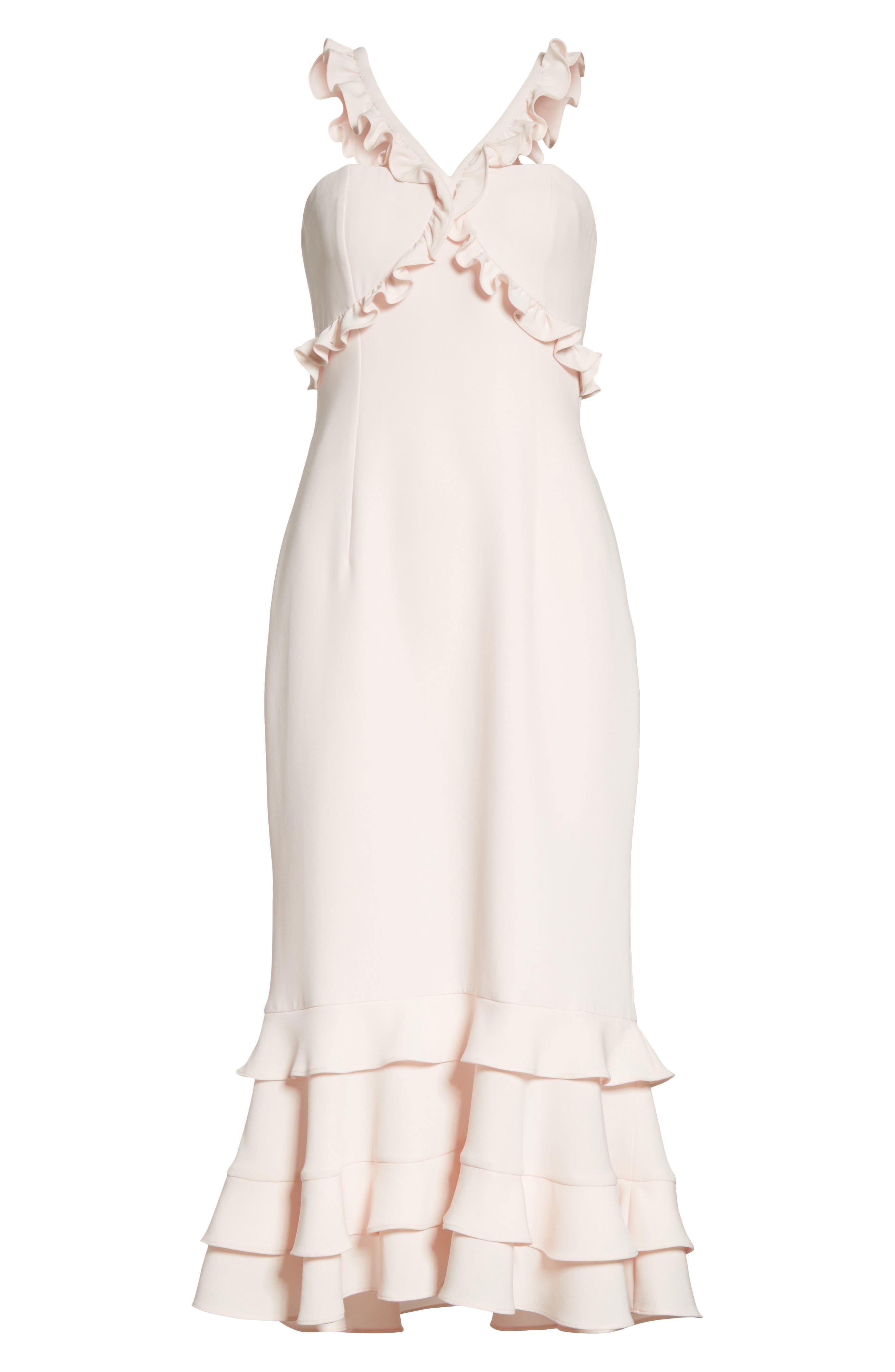 Kimora Ruffle Detail Dress,                             Alternate thumbnail 6, color,                             Pearl Blush