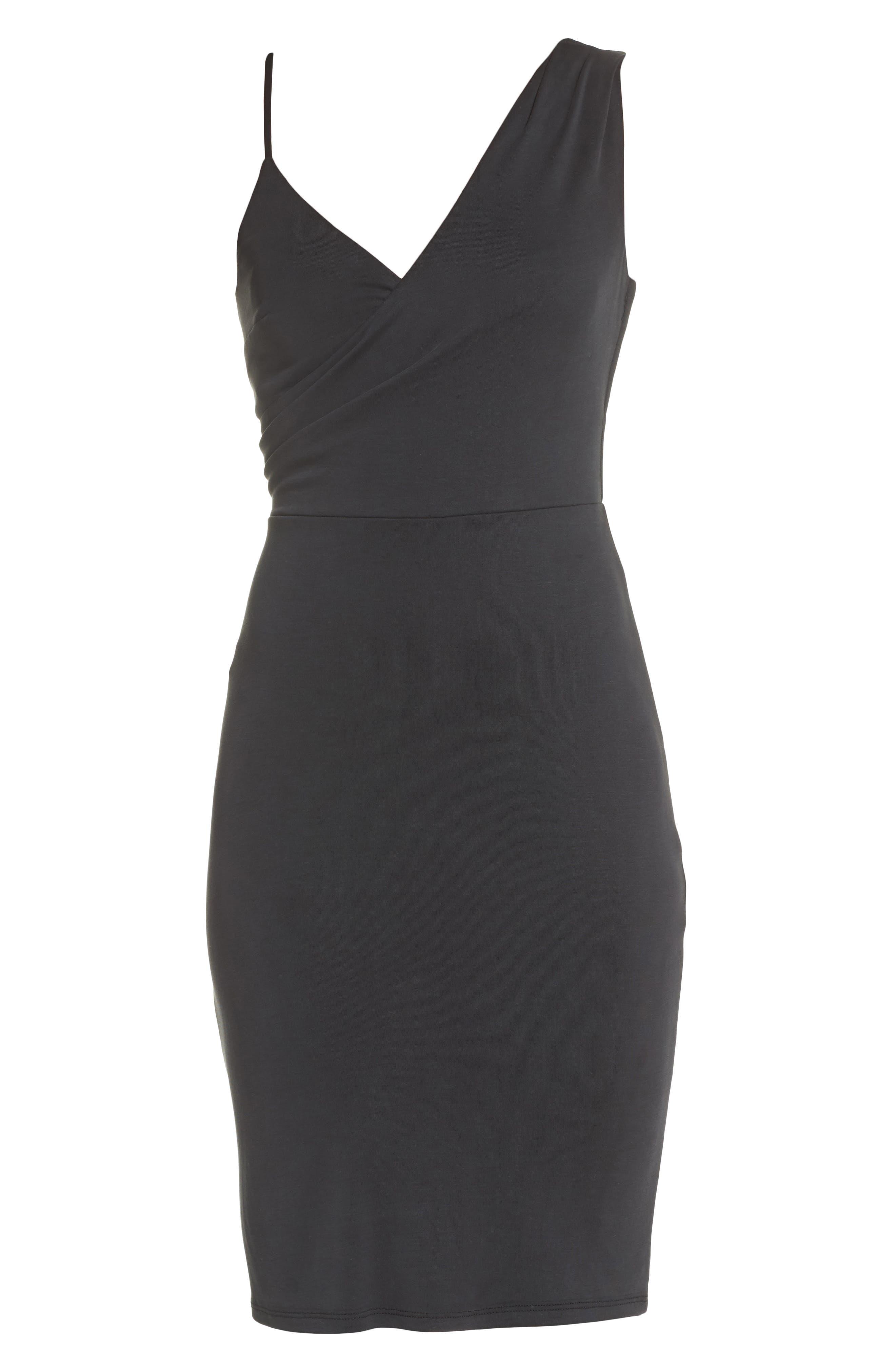 Gracie Cupro Body-Con Dress,                             Alternate thumbnail 6, color,                             Black