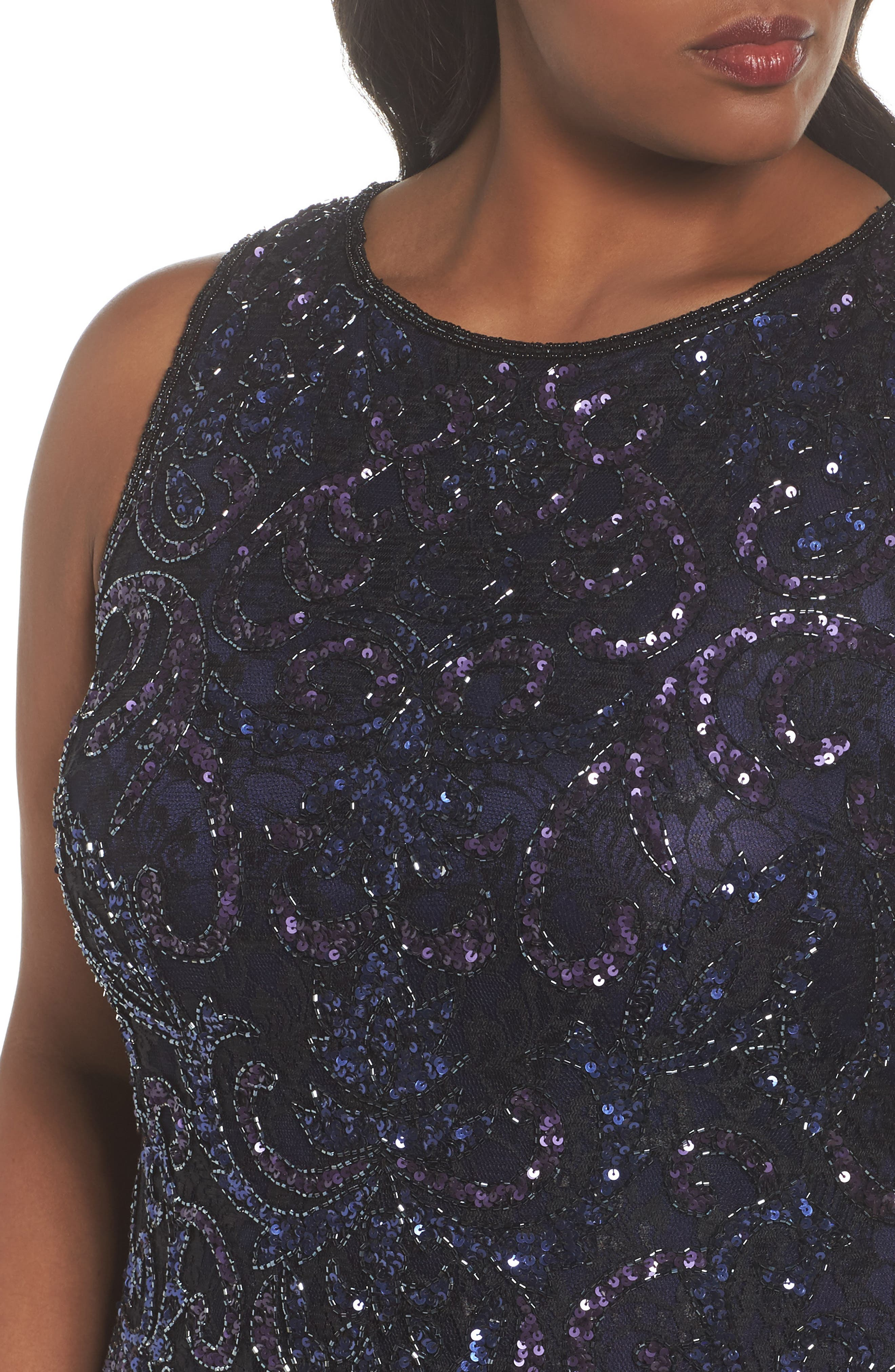 Embellished Mock Two-Piece Gown,                             Alternate thumbnail 4, color,                             Black