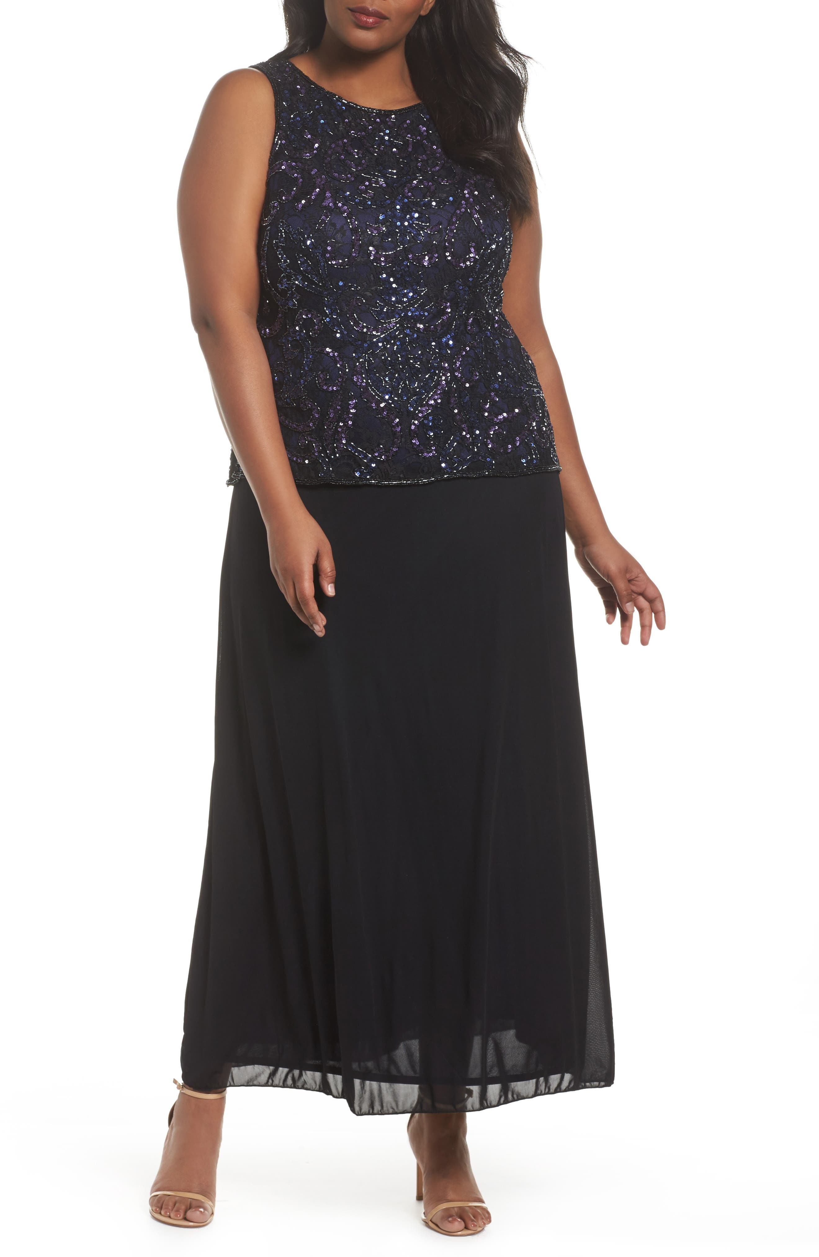 Embellished Mock Two-Piece Gown,                         Main,                         color, Black