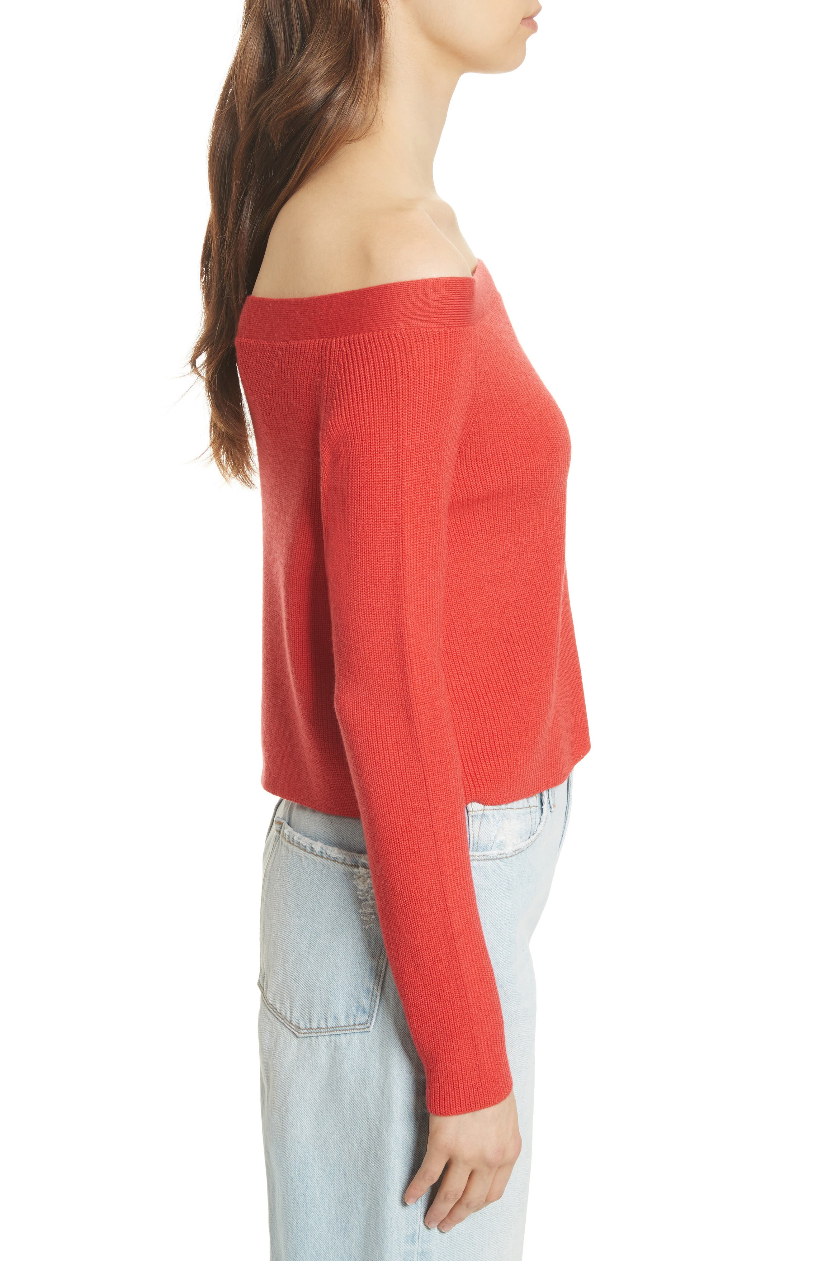 Off the Shoulder Crop Sweater,                             Alternate thumbnail 3, color,                             Summer Red