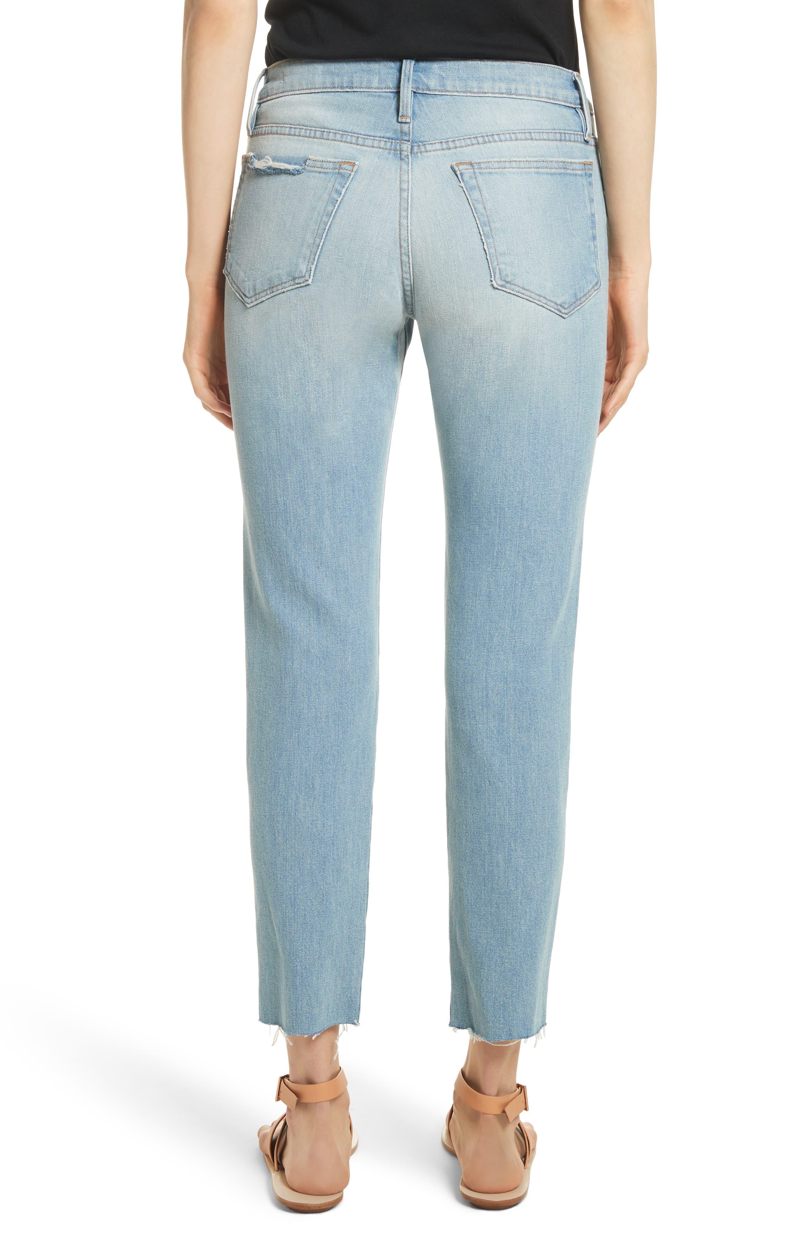Le Boy High Waist Raw Hem Jeans,                             Alternate thumbnail 2, color,                             Pamder End